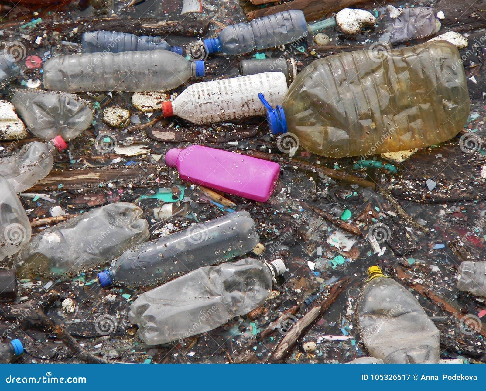 Lago inquinante Inquinamento in acqua Bottiglie di plastica Malattie e malattie