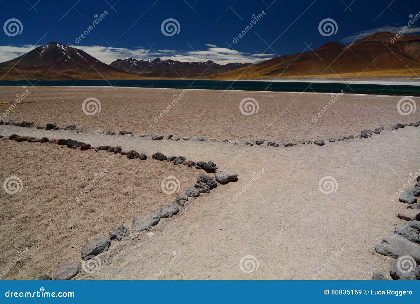 Lago Miscanti ou Laguna Miscanti Reserva nacional dos flamencos do Los Região de Antofagasta chile