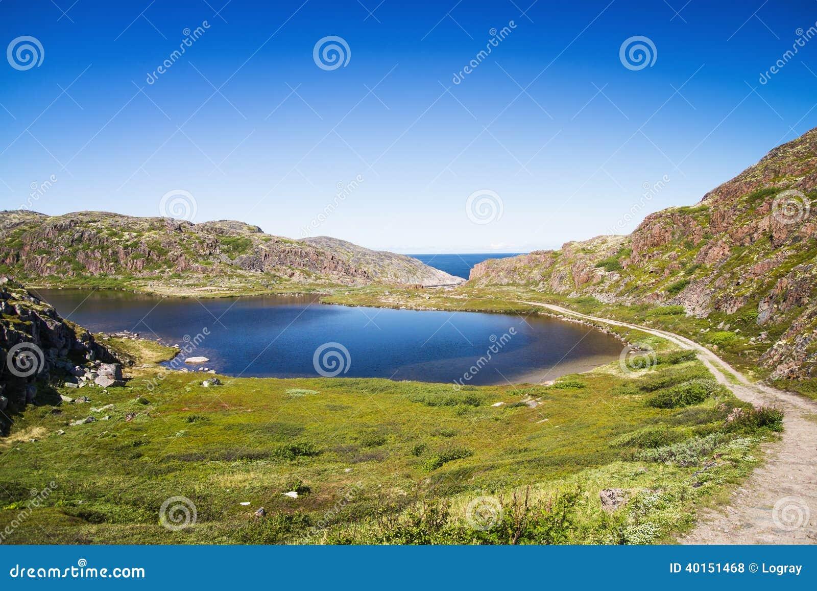 Lago Mountain Nel Nord Di Colline Coperte Muschio E