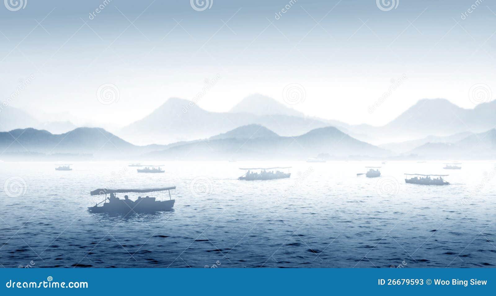 Lago ocidental Hangzhou em China
