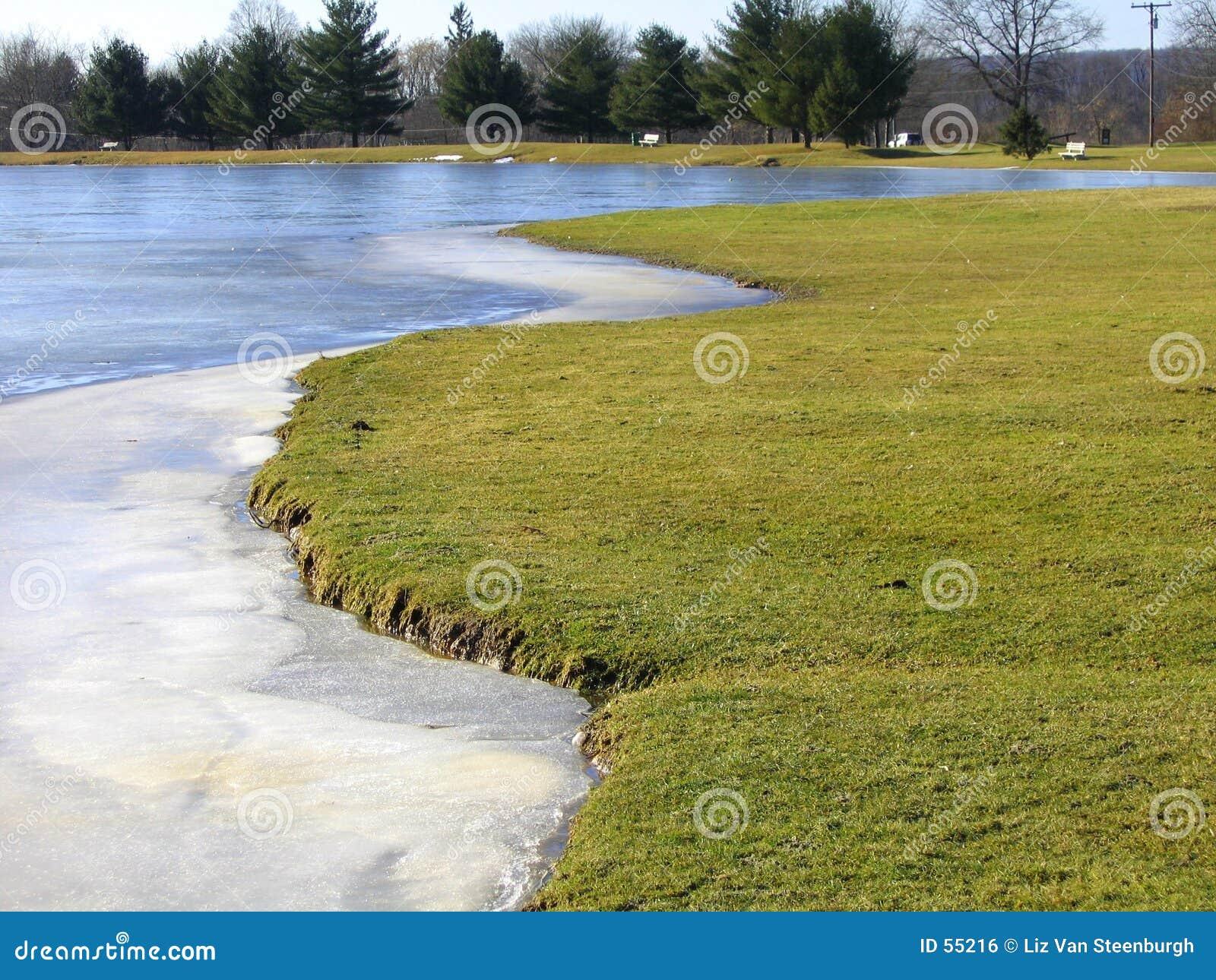 Lago parcialmente congelado