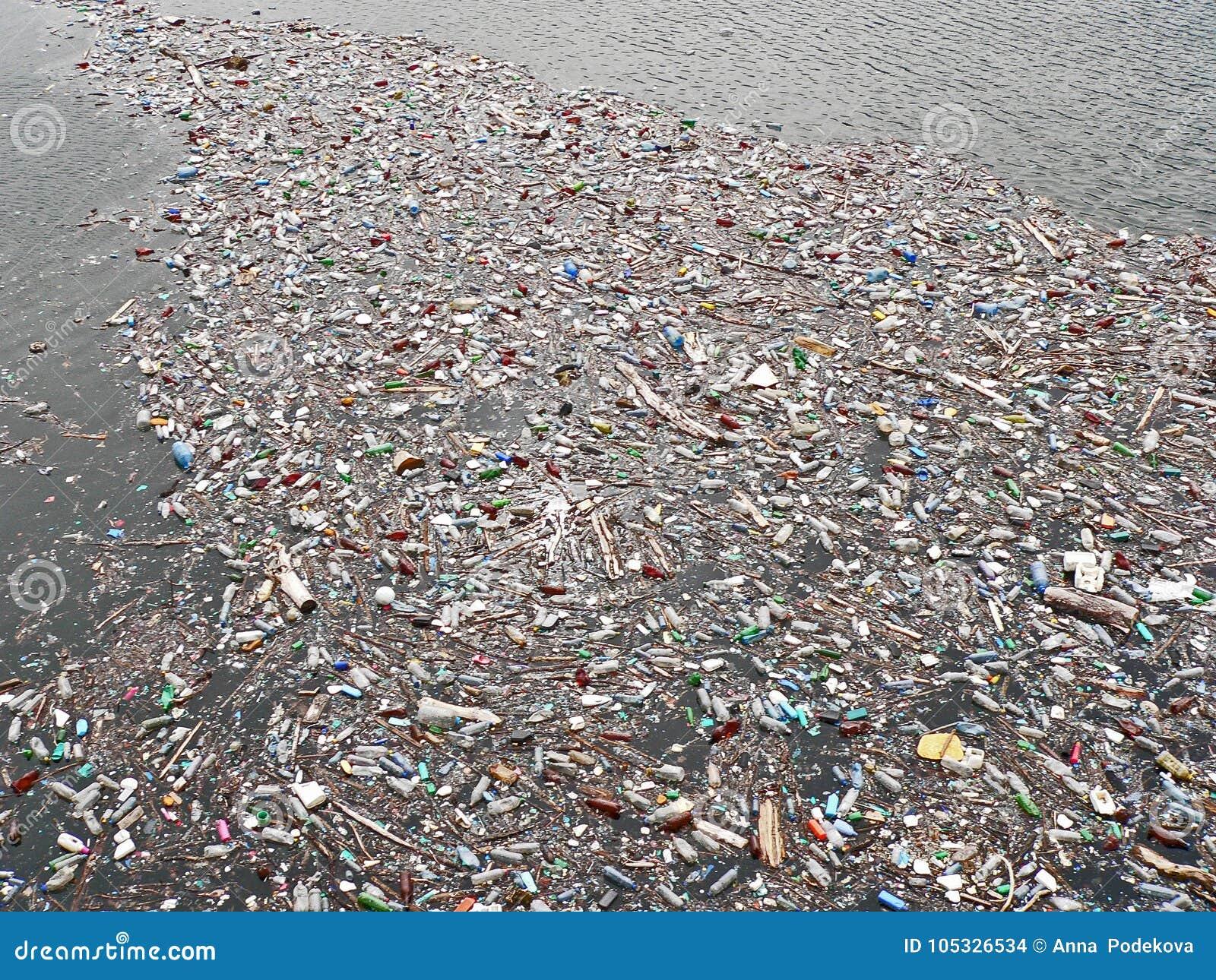 Lago poluído Poluição na água Garrafas plásticas Doenças e doenças