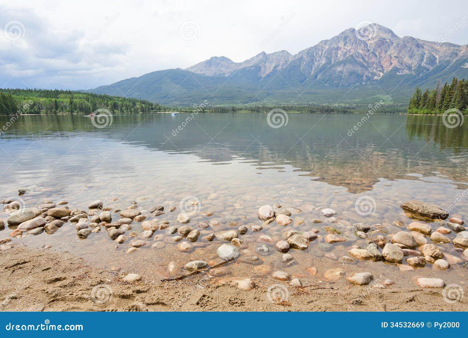 Lago pyramid, montaña, Alberta