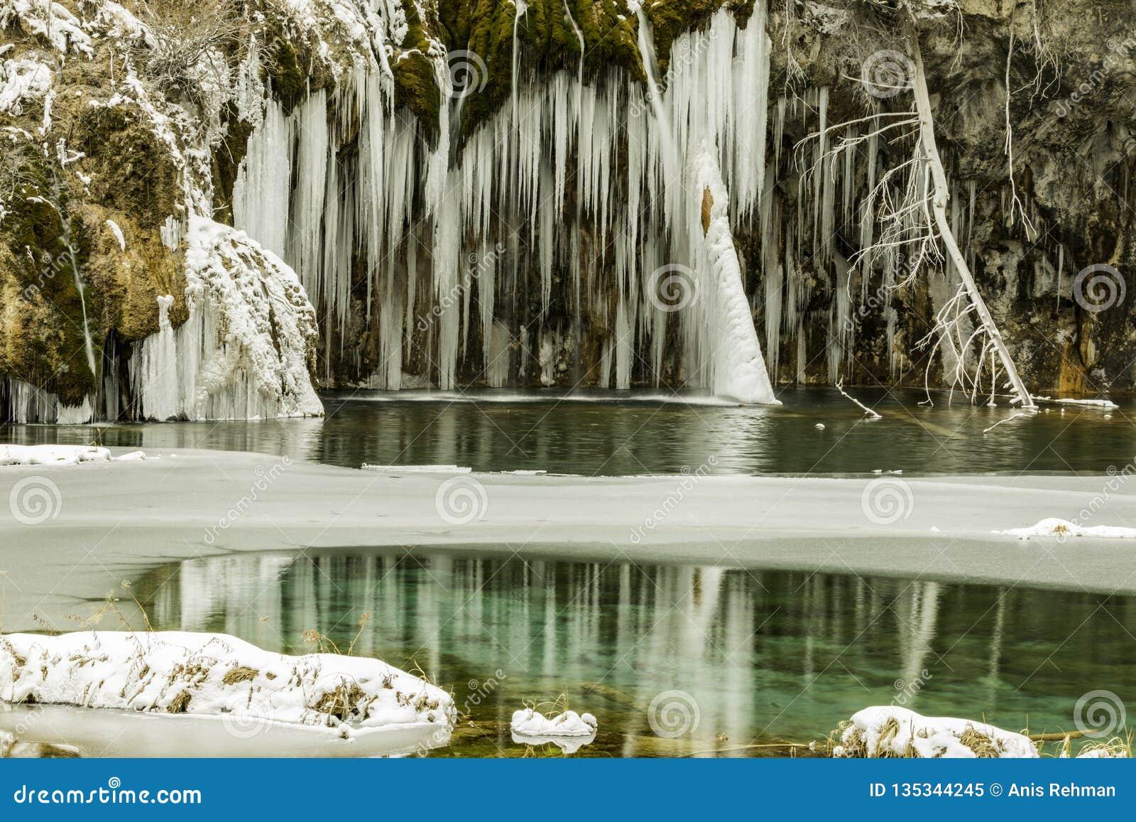 Lago, reflexões, fuga de natureza, inverno, congelado, frio, Colorado