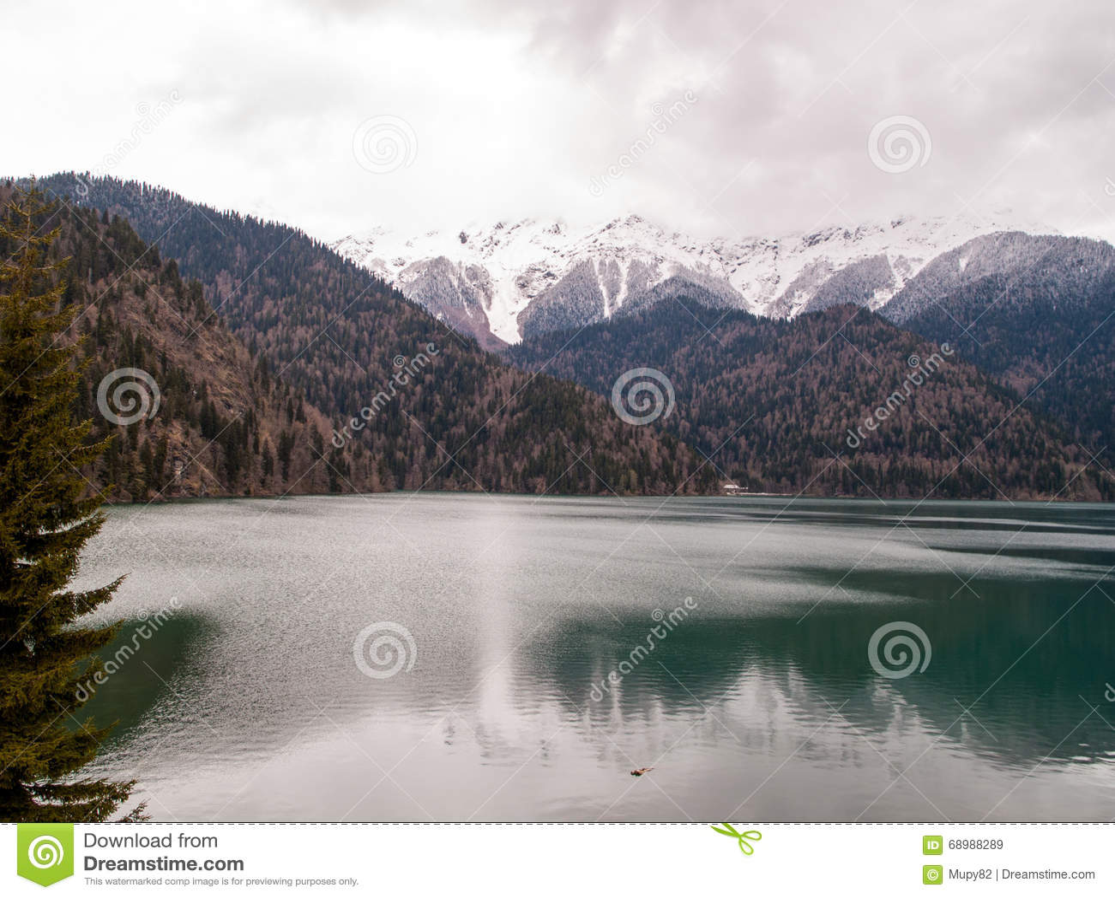 Lago Ritsa entre las altas montañas