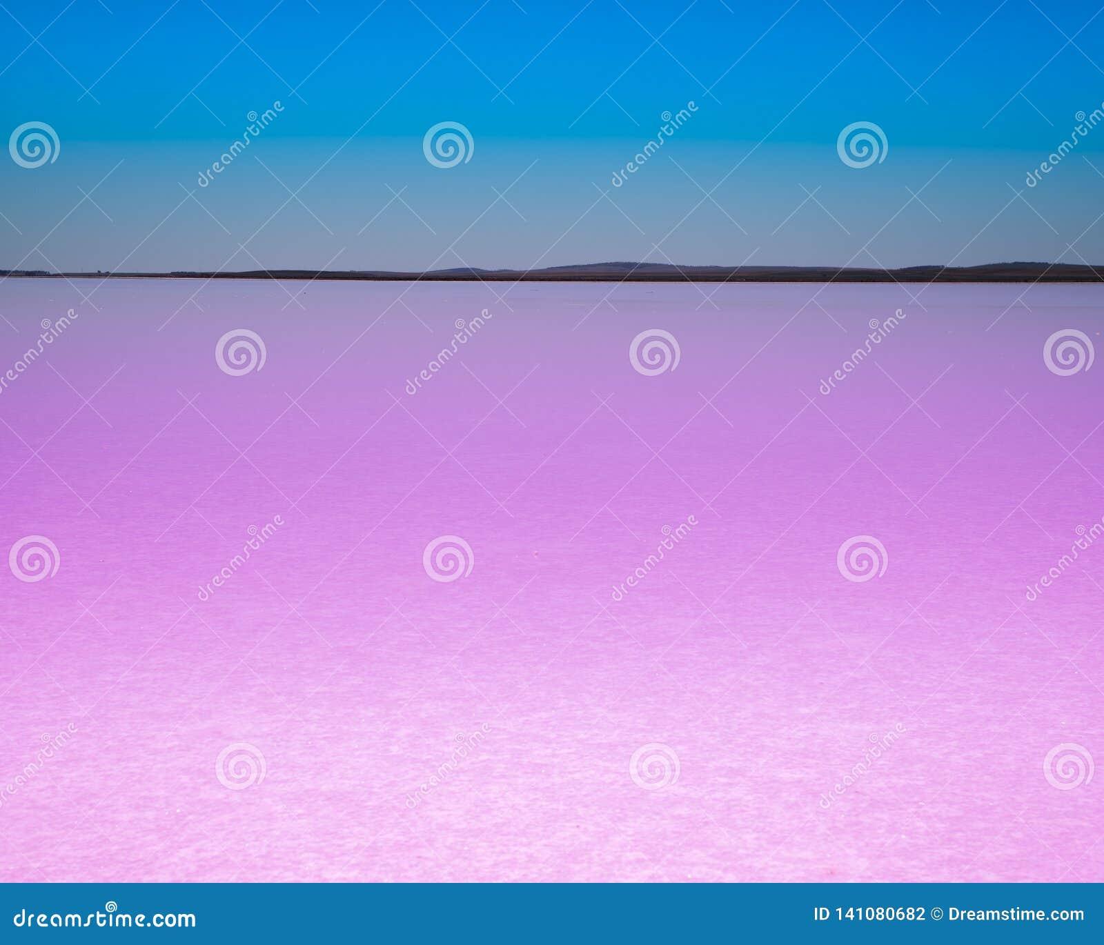 Lago rosado con el cielo azul
