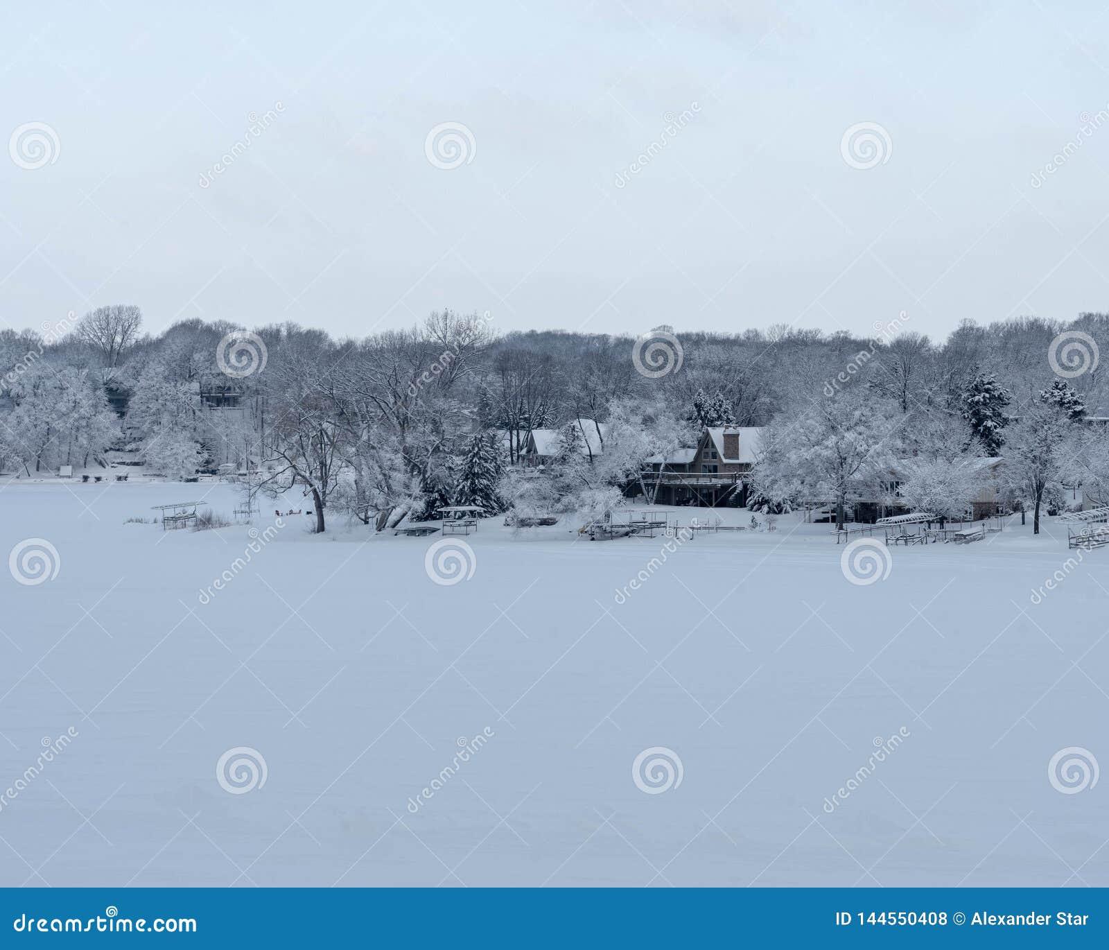 Lago snow nel lago nevoso del Minnesota