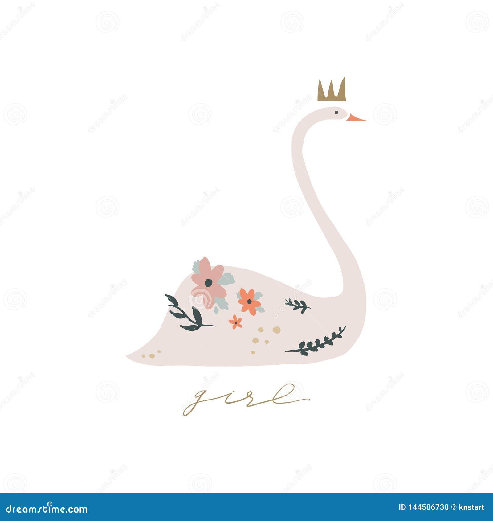 Lago swan Caligrafia da rotula??o Princesa da menina, cartaz do cart?o e cart?o, imagem do vetor