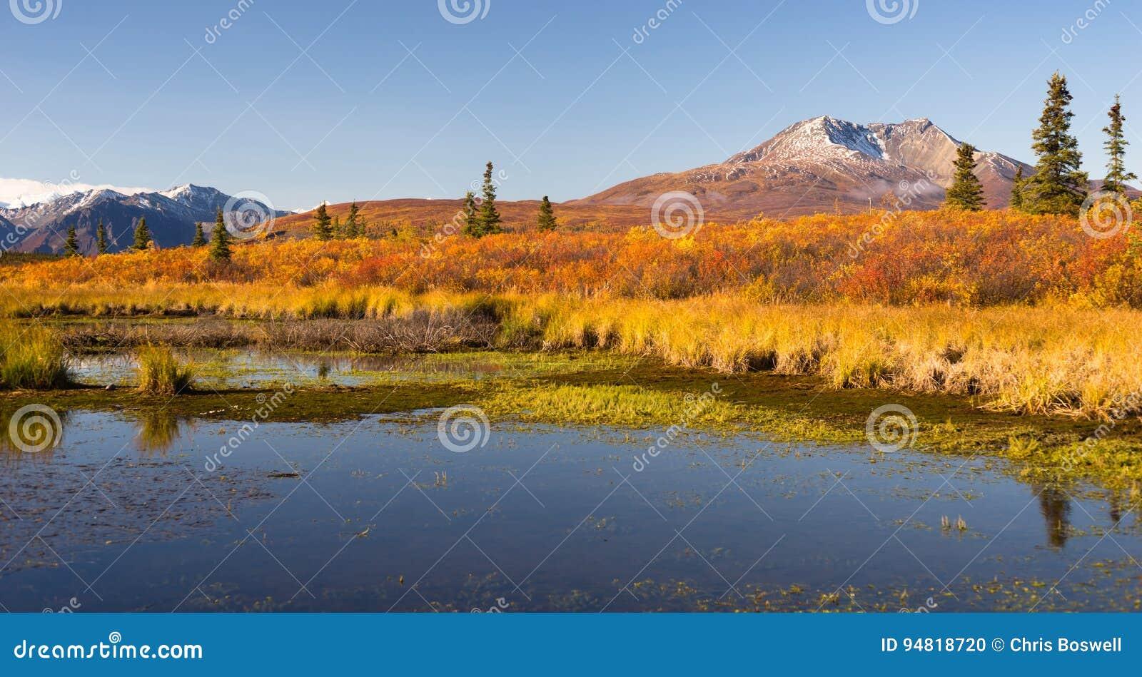 Lagoa antiga de Volcano Sits Dormant Near Alaskan