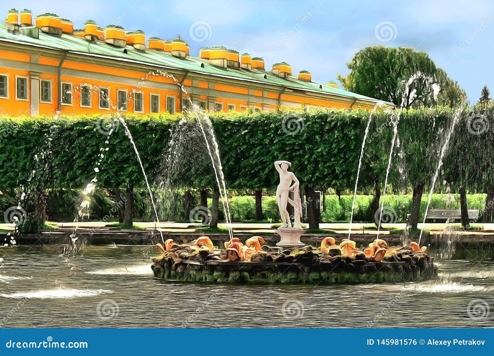 Lagoa com uma fonte decorada pela figura de Apollo