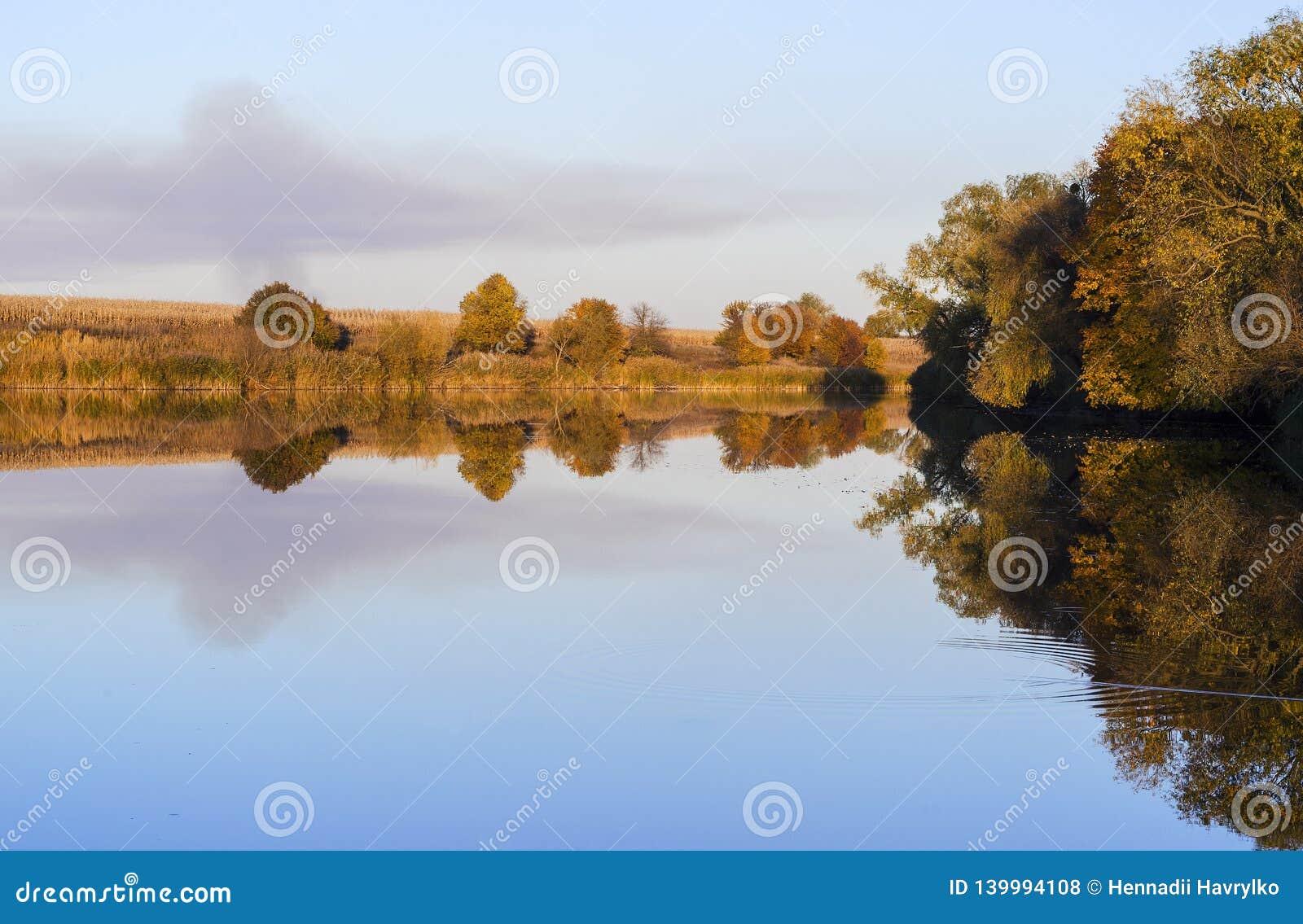 Lagoa quieta com reflexão da costa