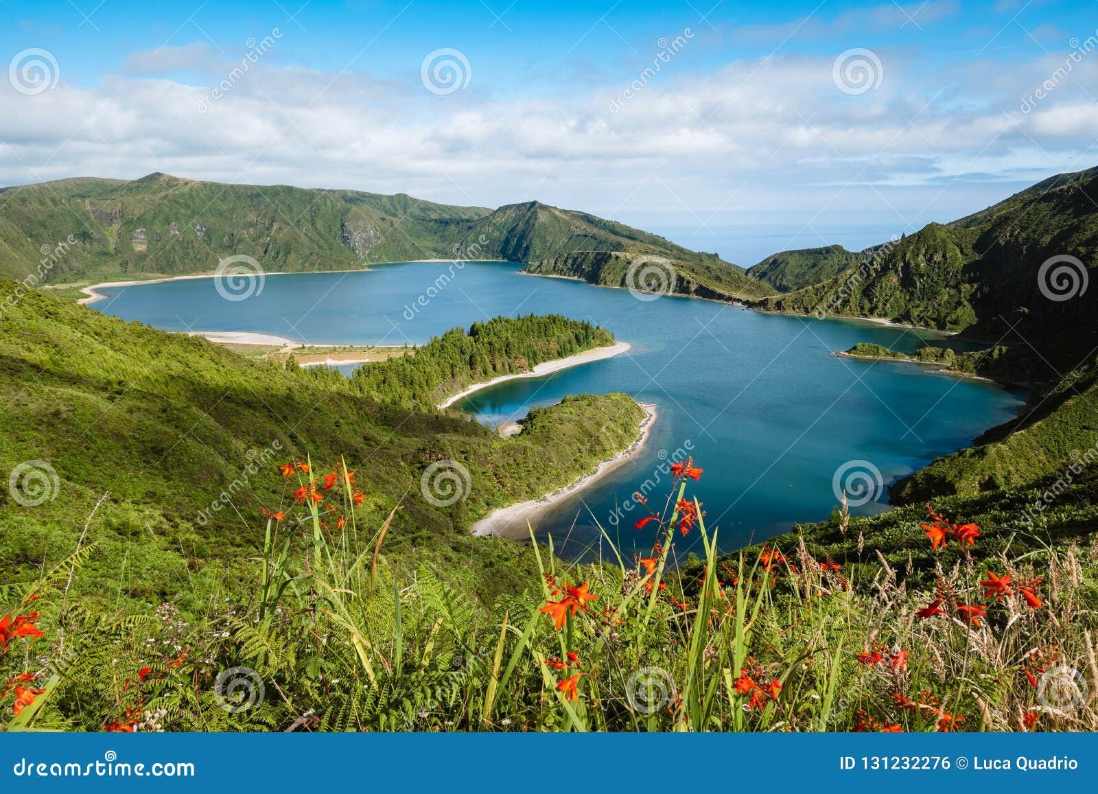 Lagoa robi Fogo lagunie ogień - Azores wyspy