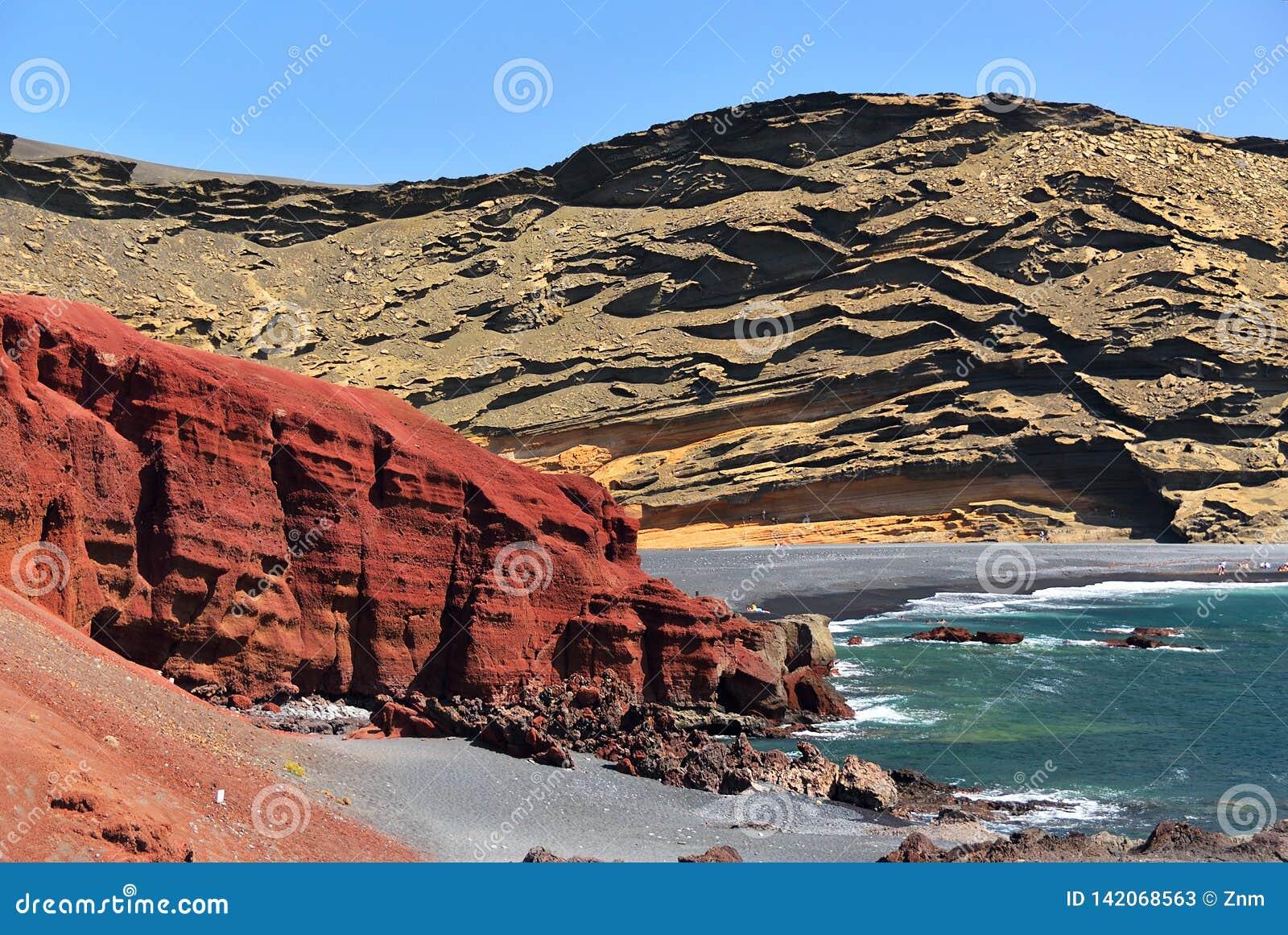 Lagoon El Golfo With The Black Beach. Lanzarote Island ...