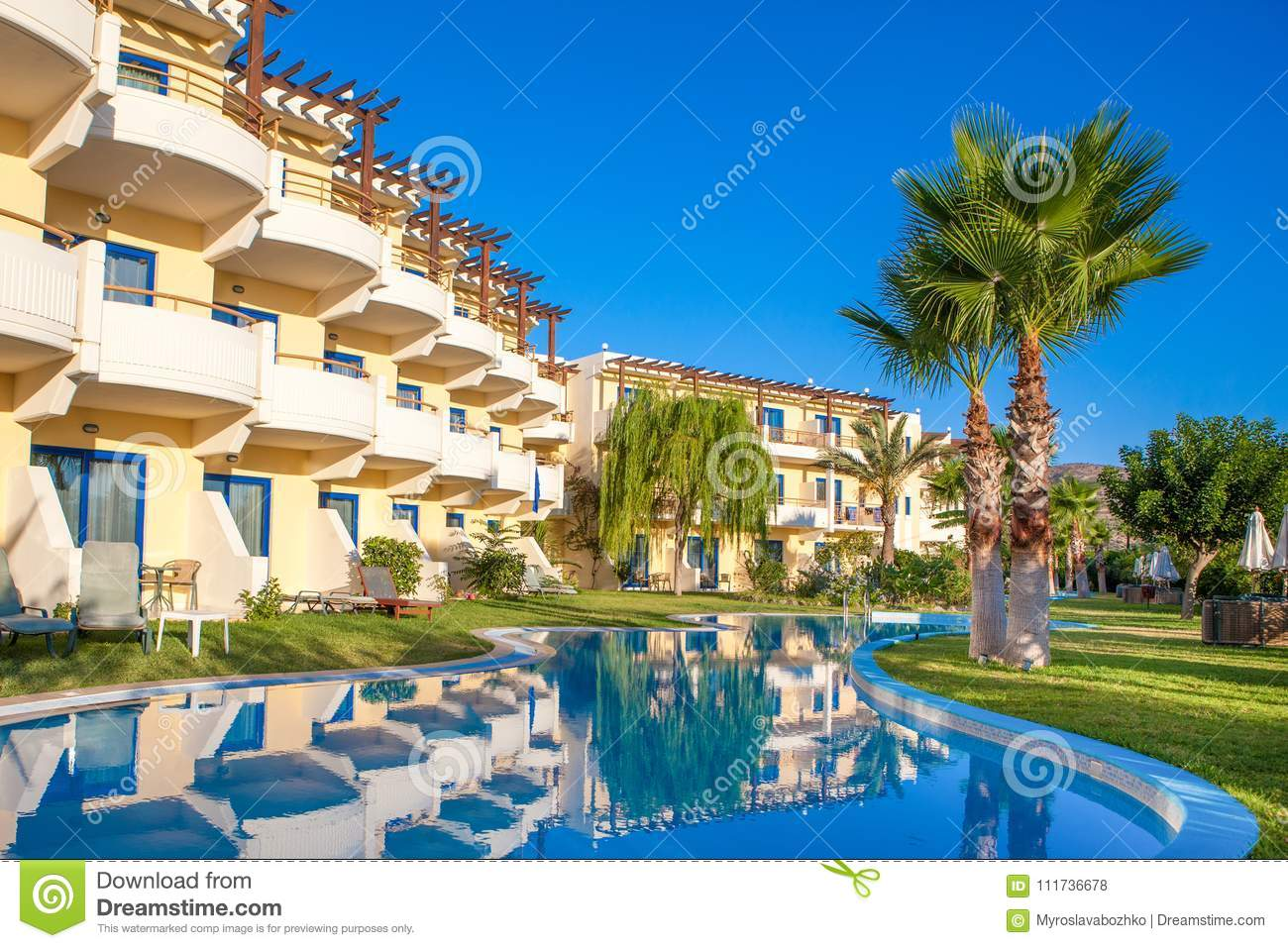 Lagoon Pool With Beautiful Landscape Design In Luxury Hotel ...