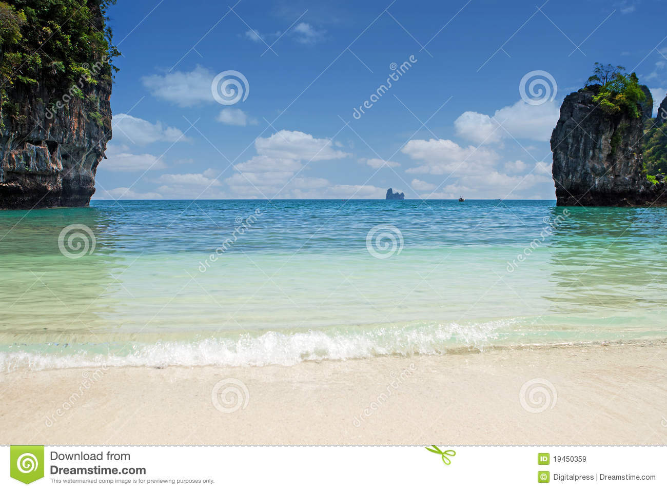Lagoon Tropical Island: Lagoon With Tropical Beach Royalty Free Stock Images