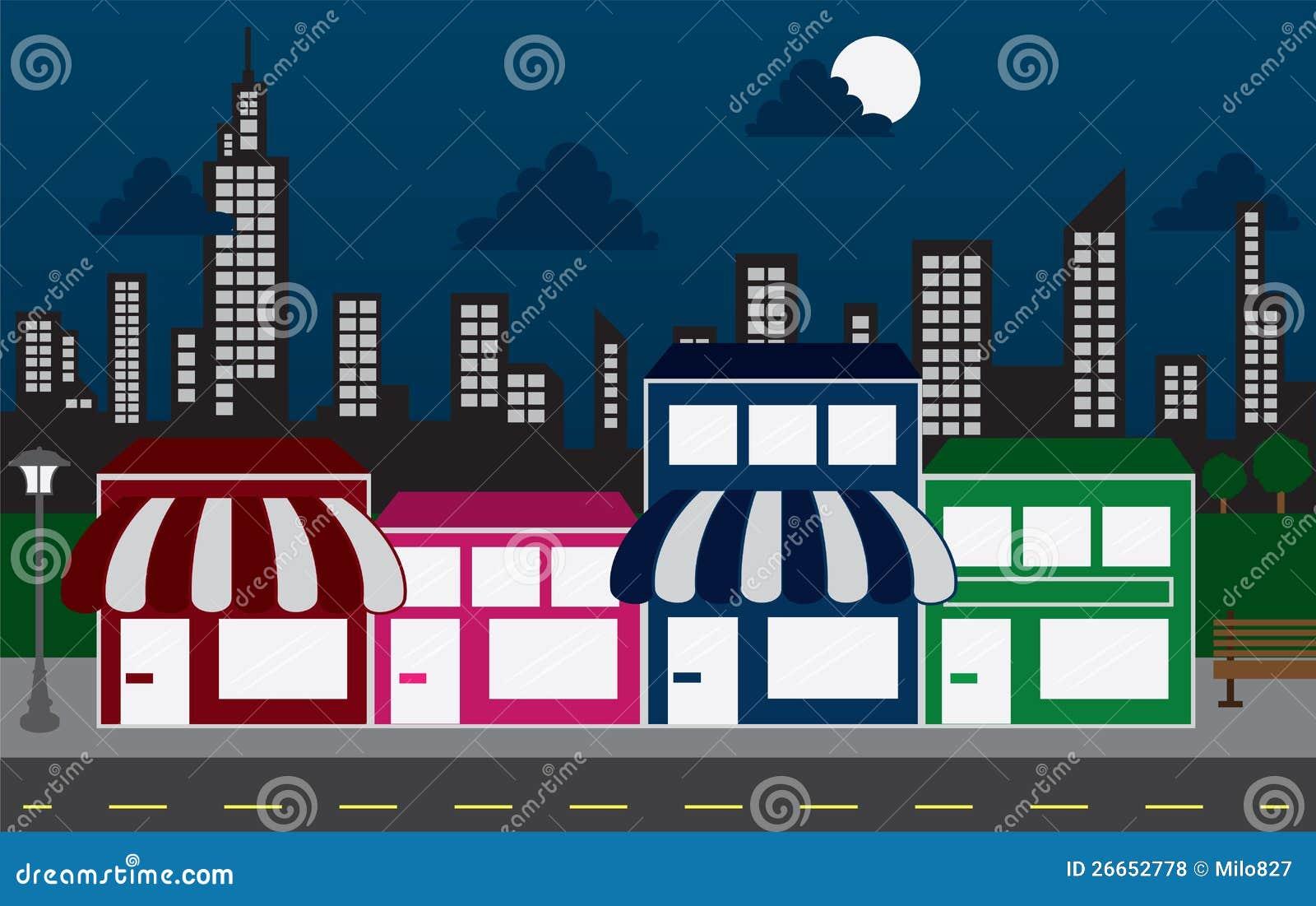 Lagra framdelar och horisontbyggnader på natten