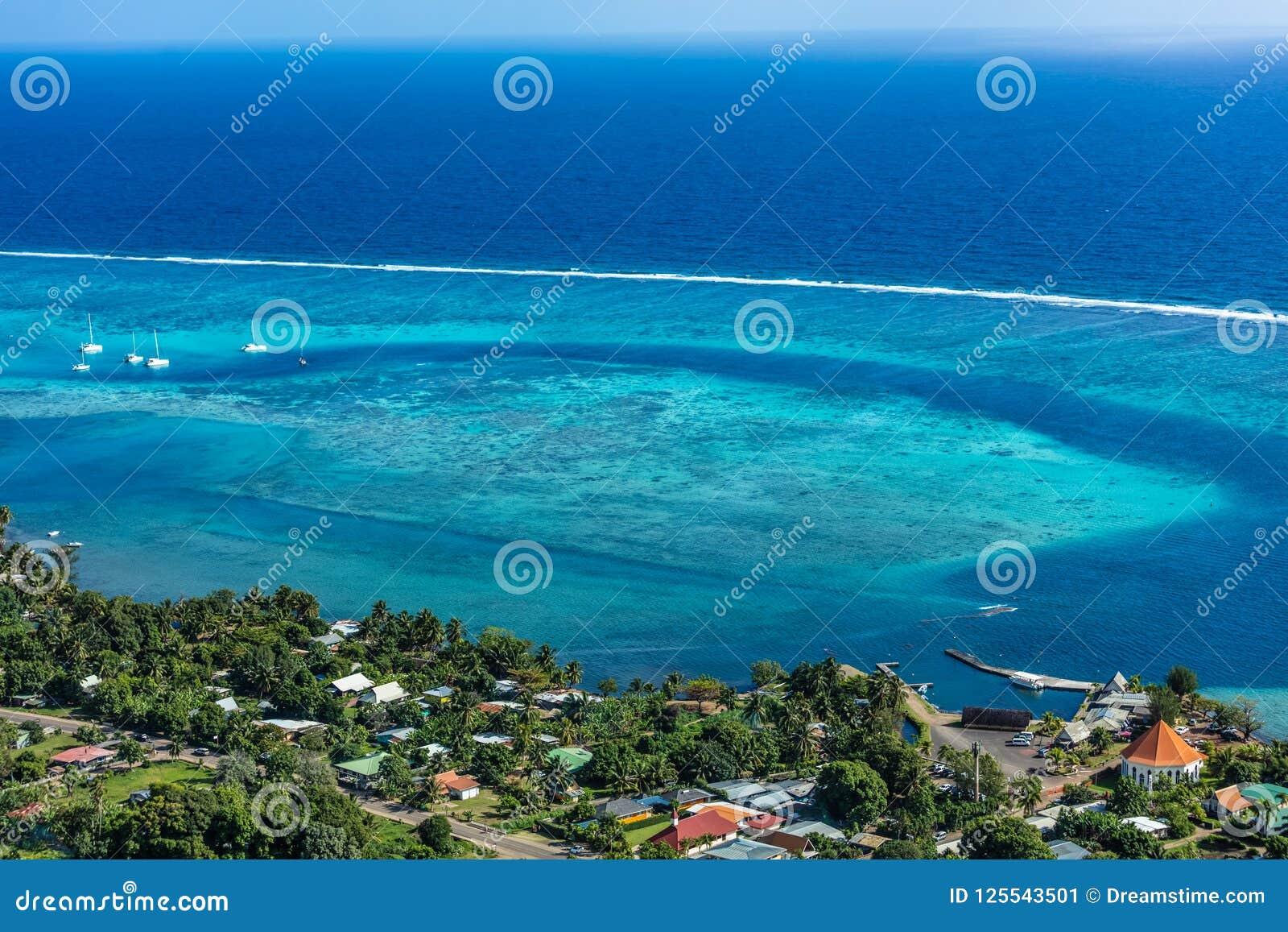LAGUN AV MOOREA-ÖN till franska Polynesien