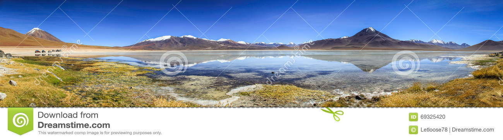 Laguna Blanca Reflections Panorama, Altiplano, Bolivia,