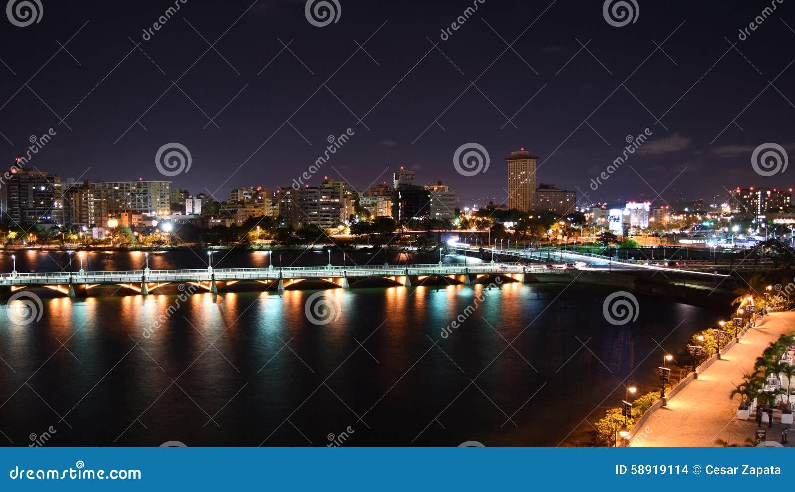 City View of San Juan at night
