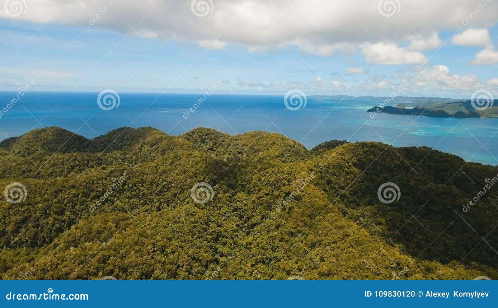 Laguna tropical de la visión aérea, mar, playa Isla tropical Siargao, Filipinas