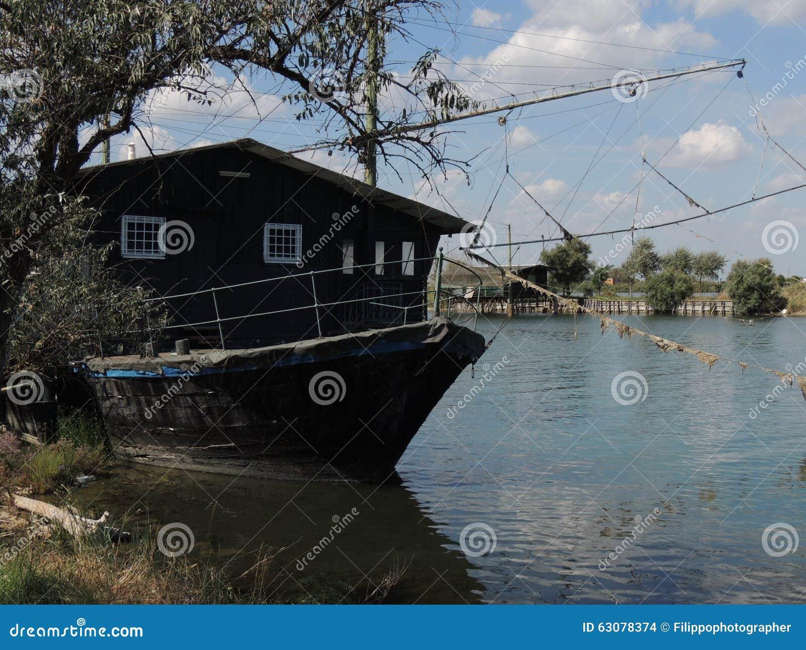 Download Lagunes de Comacchio photo stock. Image du anguilla, bateau - 63078374