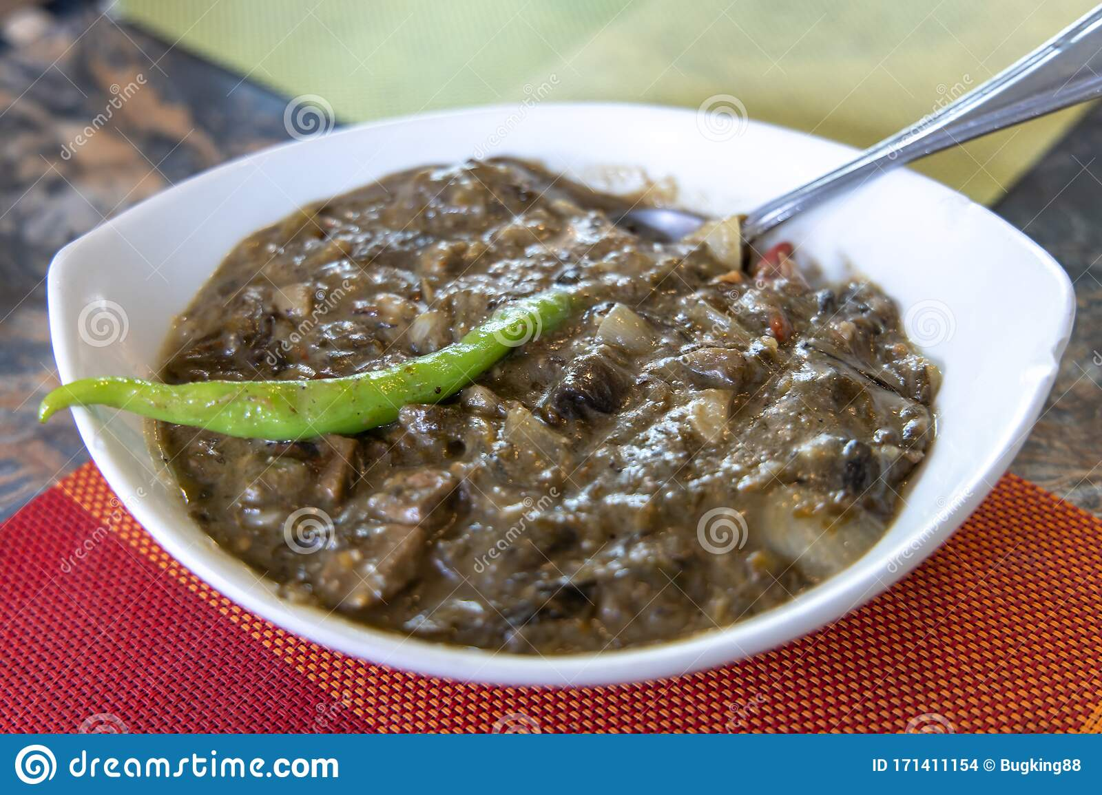 Laing Is A Filipino Dish Composed Of Dried Taro Leaves And Coconut Milk Stock Photo Image Of Laing Milk 171411154