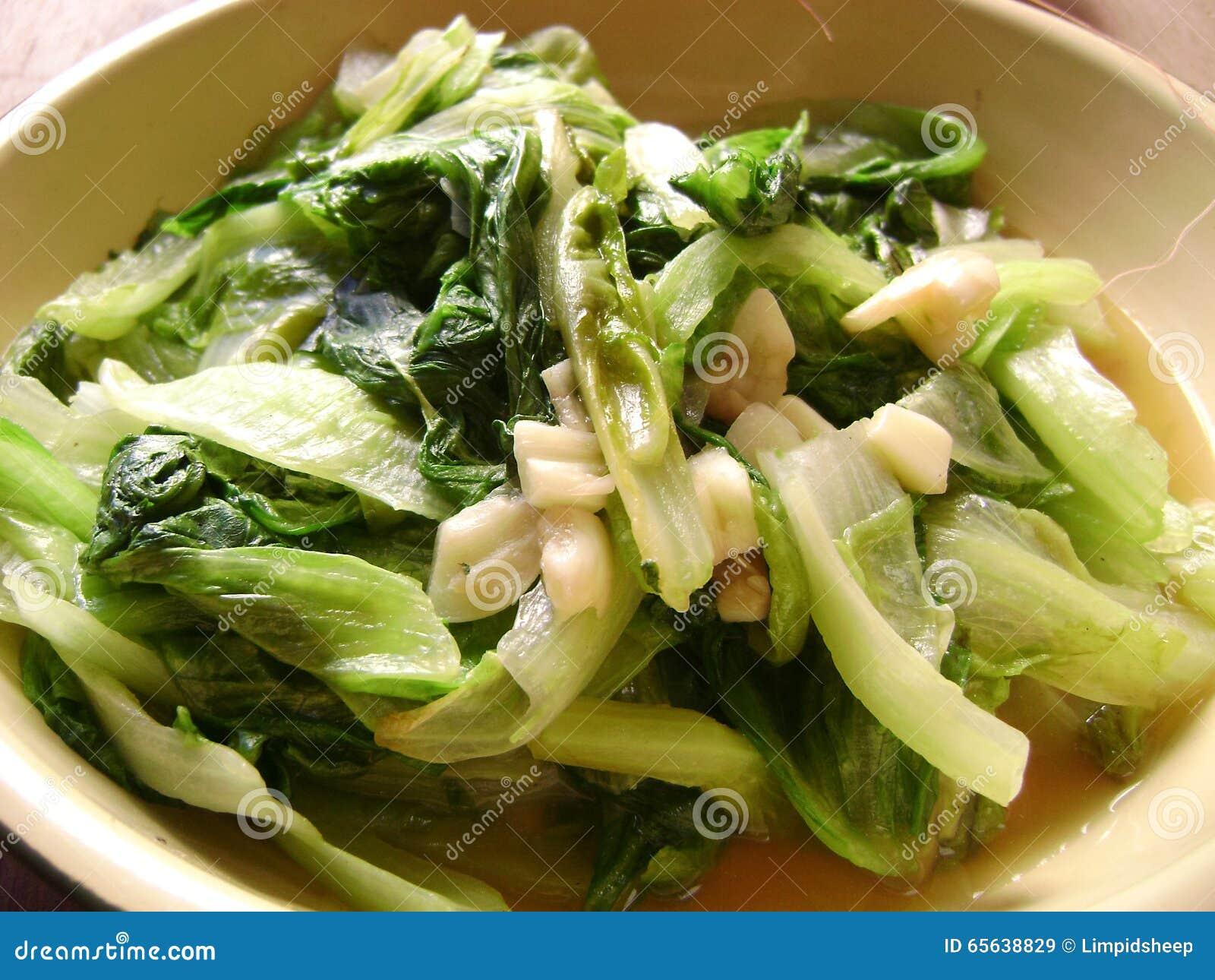 Laitue chinoise de nourriture en ail