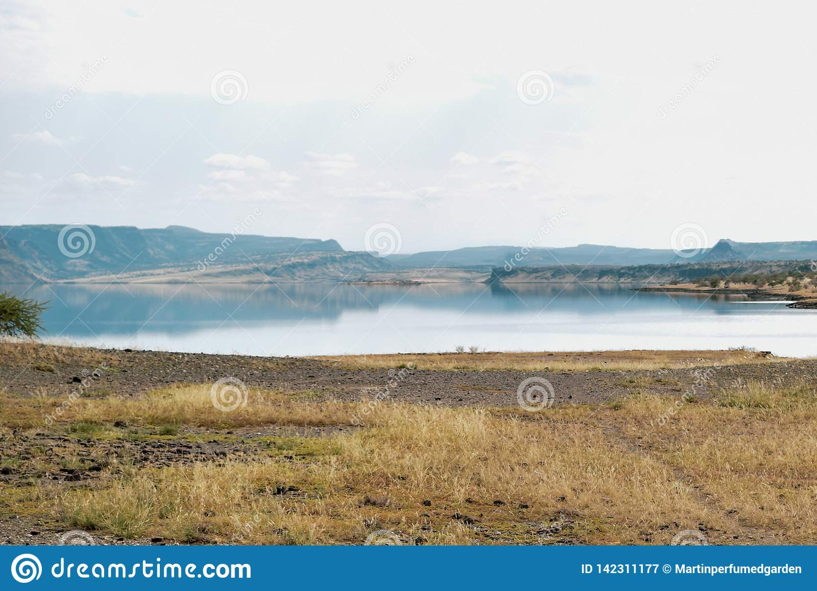 Lake against an arid landscape