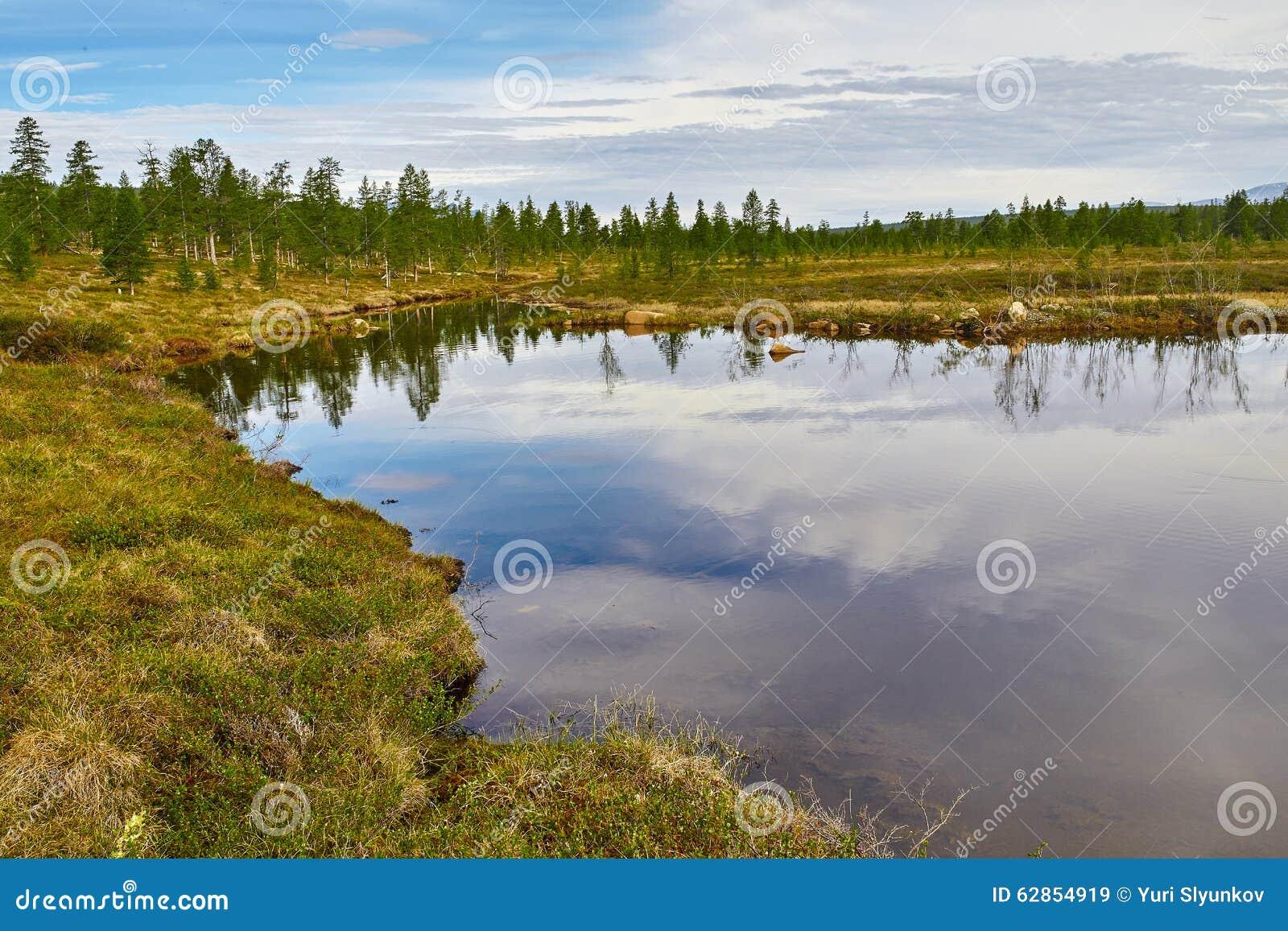 Lake. Autumn. Reflexion. The Magadan area
