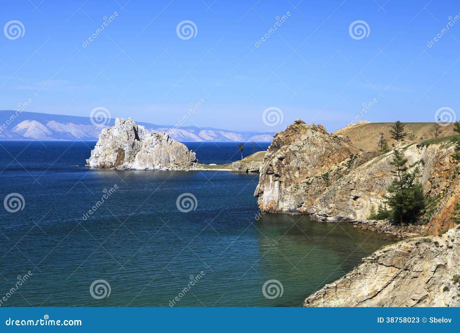 Cape Burhan and Shaman Rock on Olkhon Island at Baikal Lake, Russia.