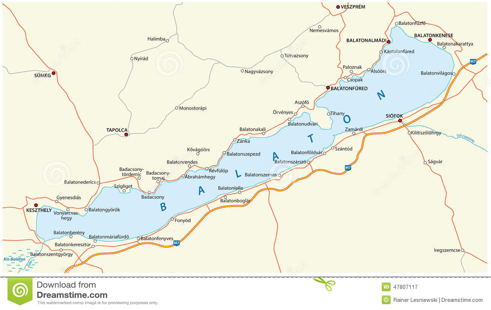 Lake Balaton Map Stock Vector Image 47807117