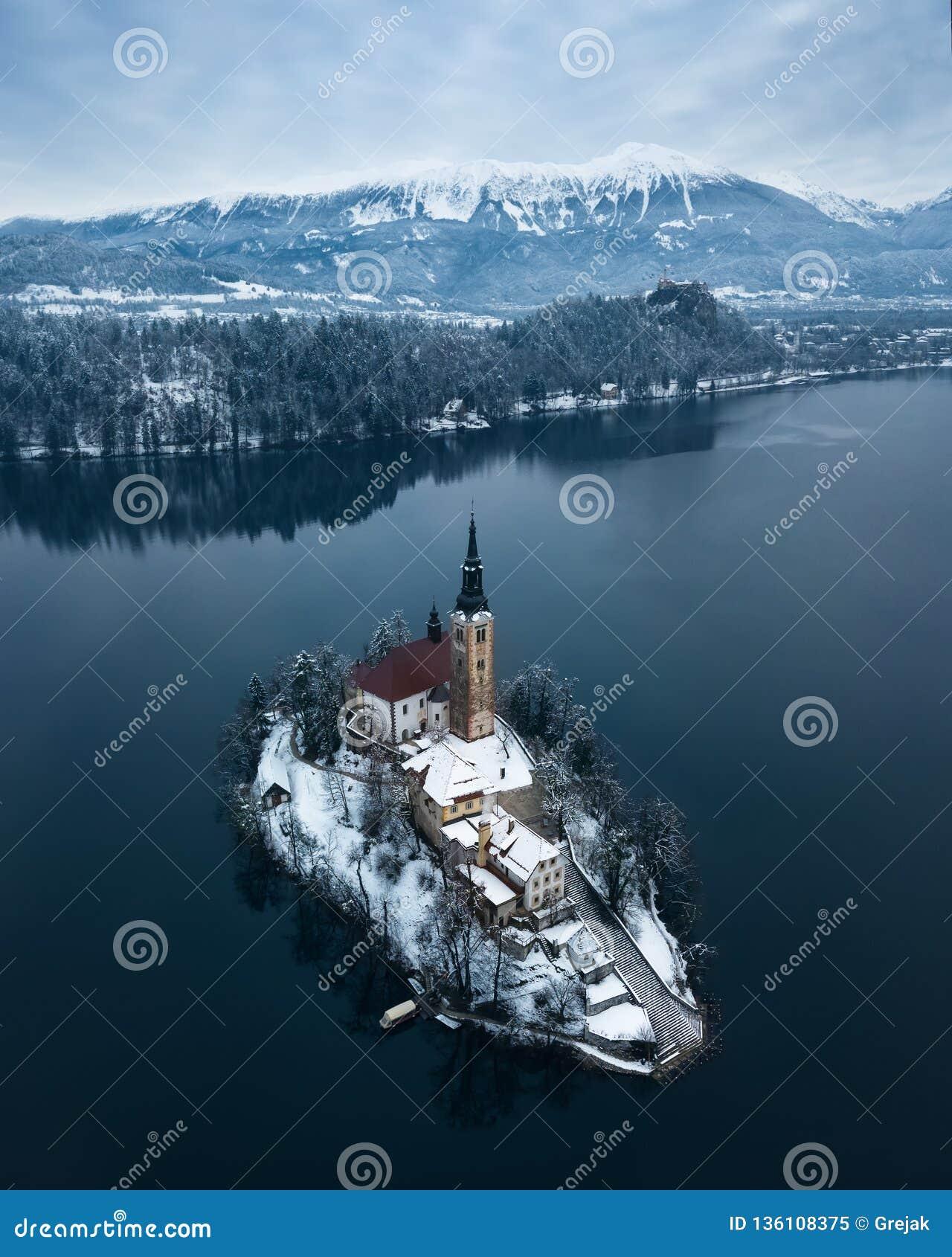 Lake Bled Slovenia Stock Image Image Of Drone Julian