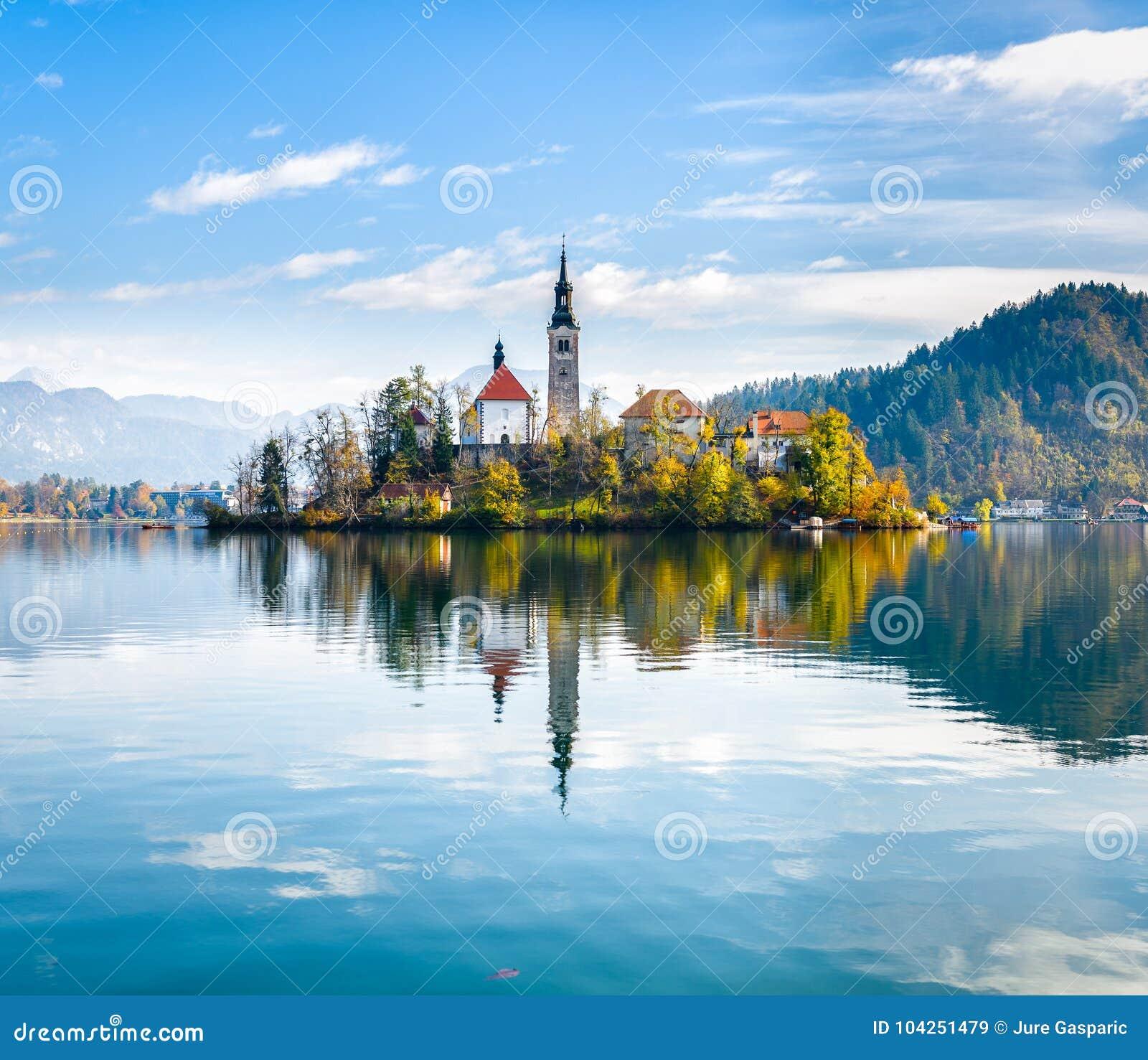 Lake Bled Slovenia. Beautiful mountain lake with small Pilgrimag