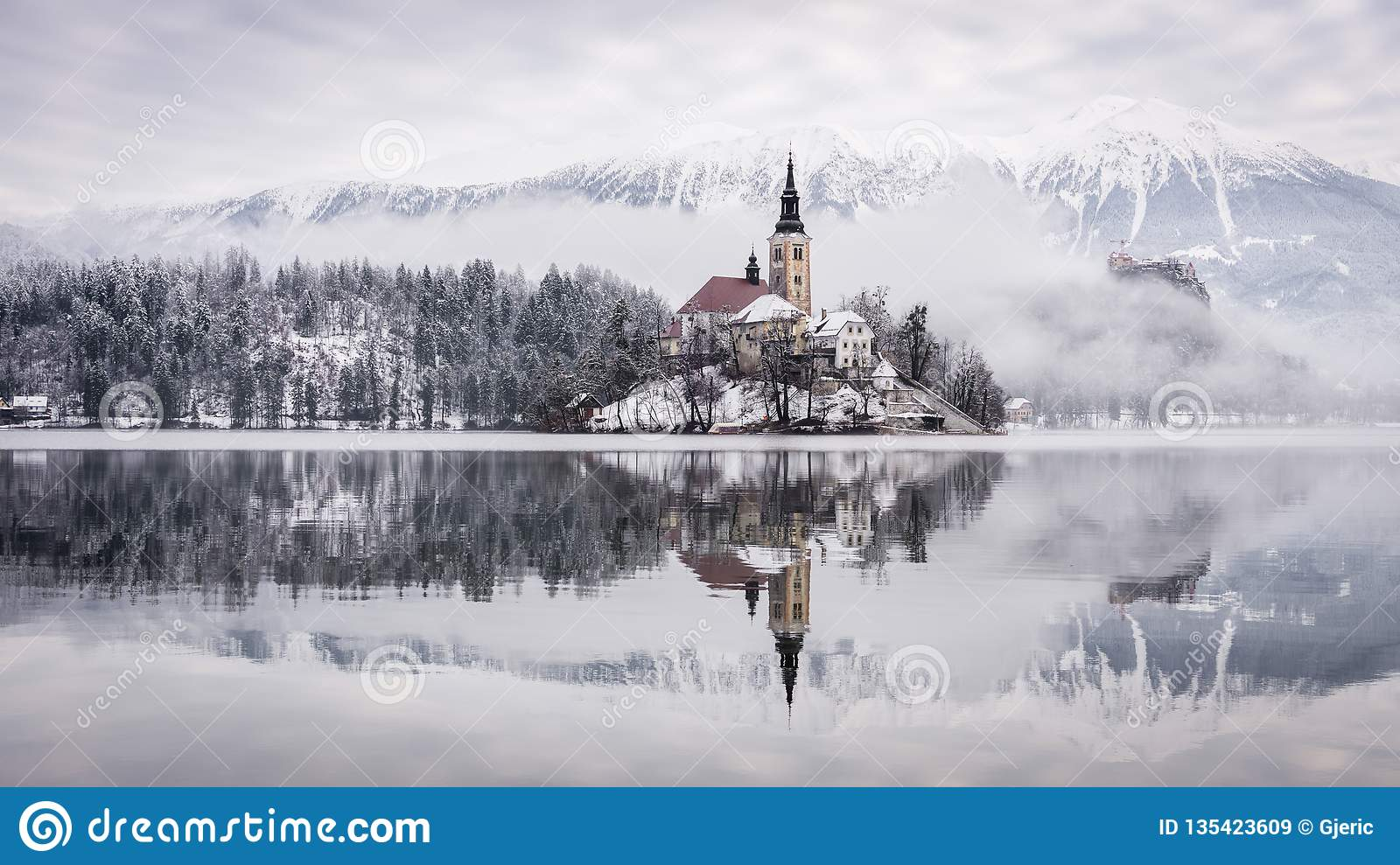 Lake Bled with St. Marys Church of the Assumption on the small island - Bled, Slovenia, Europe.