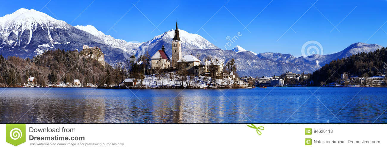 Lake Bled In Winter Bled Slovenia Europe Stock Image