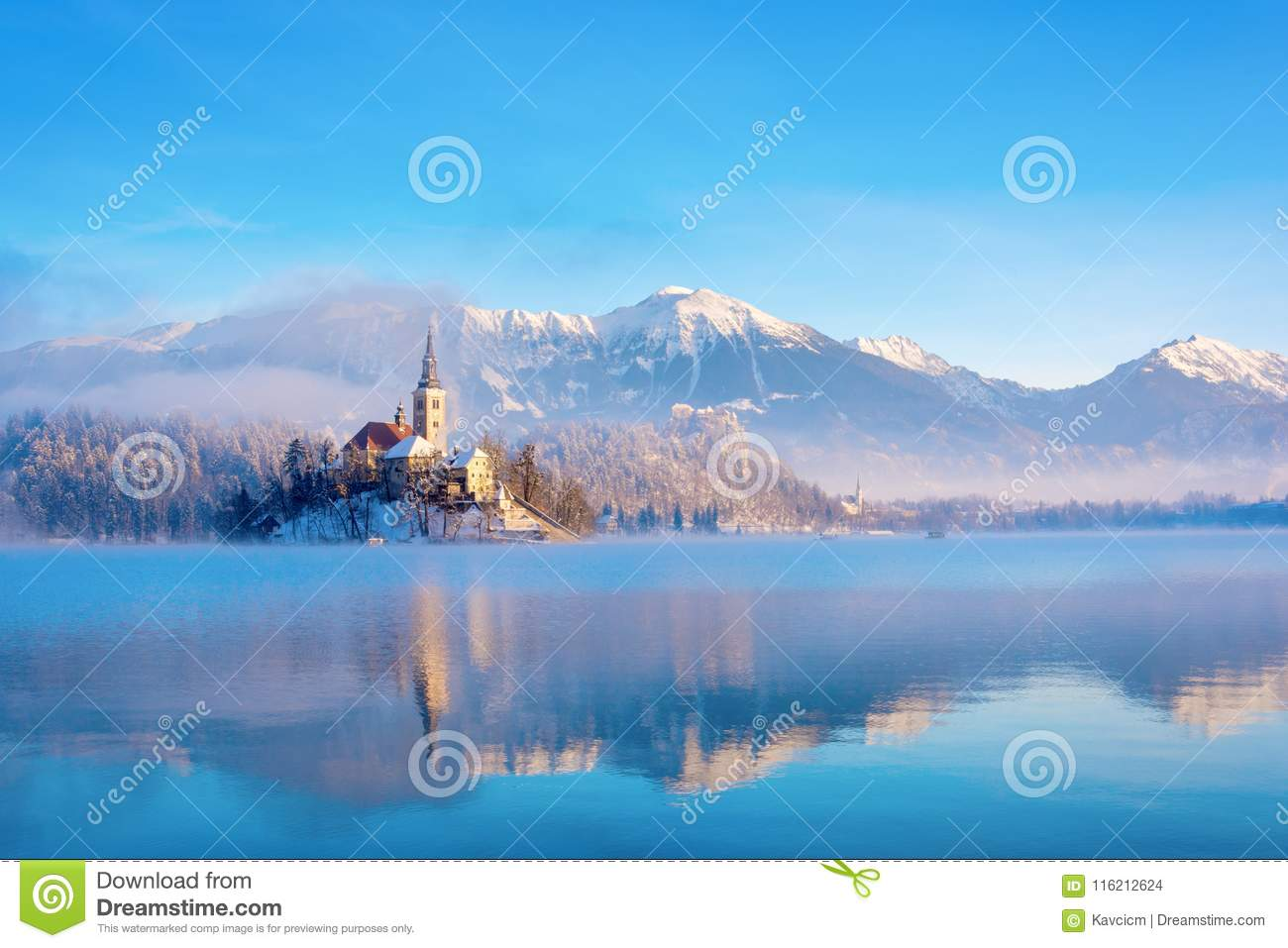 Lake bled on a winter sunny morning with clear sky