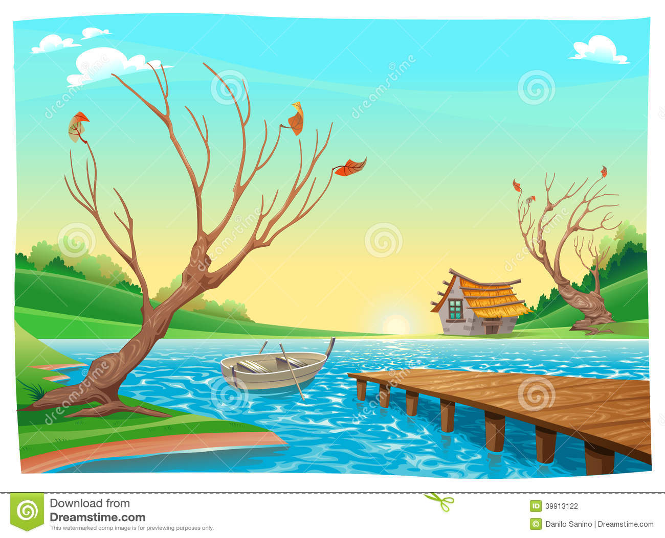 Lake With Boat. Stock Vector - Image: 39913122