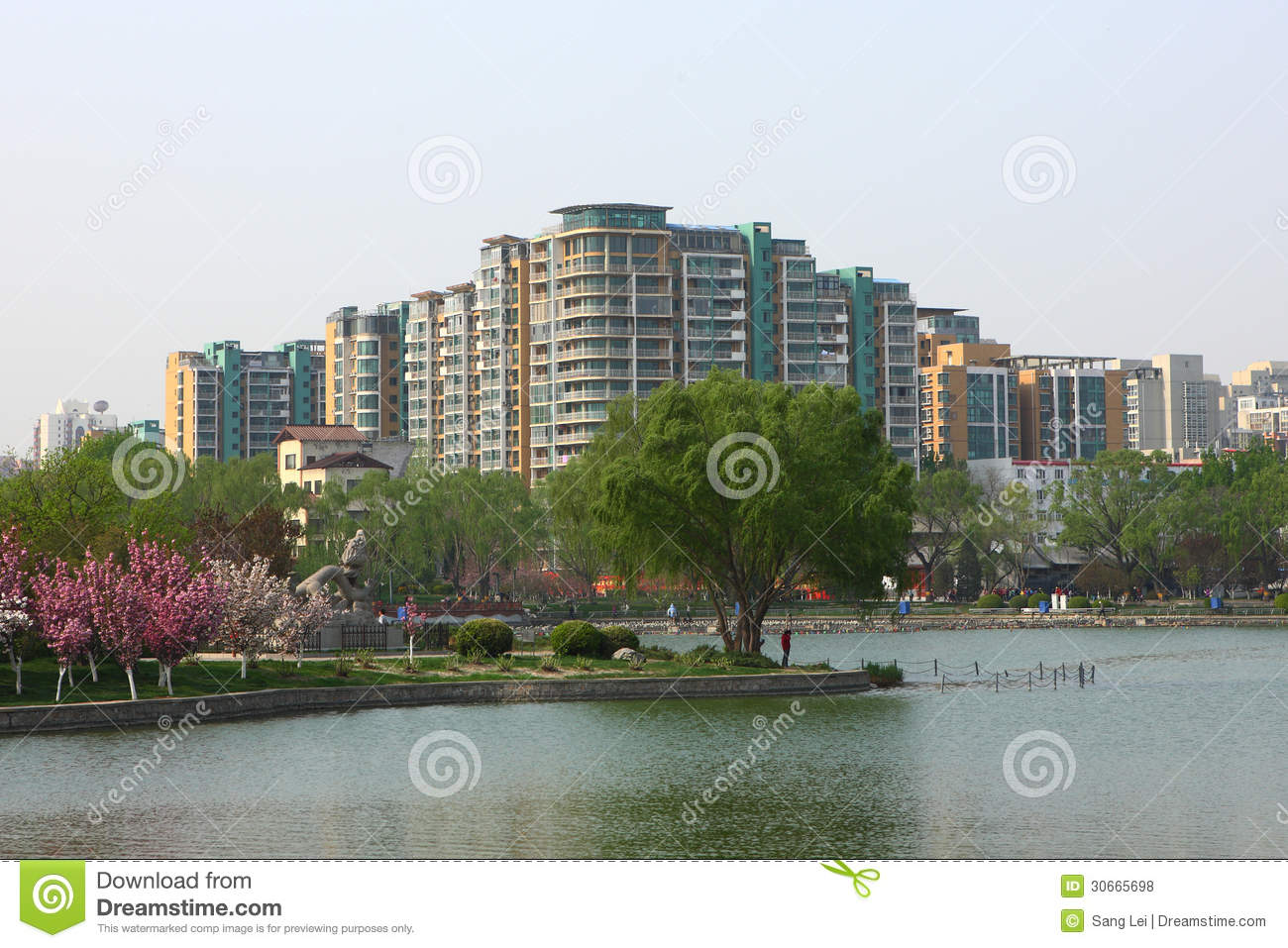 Lake and buildings