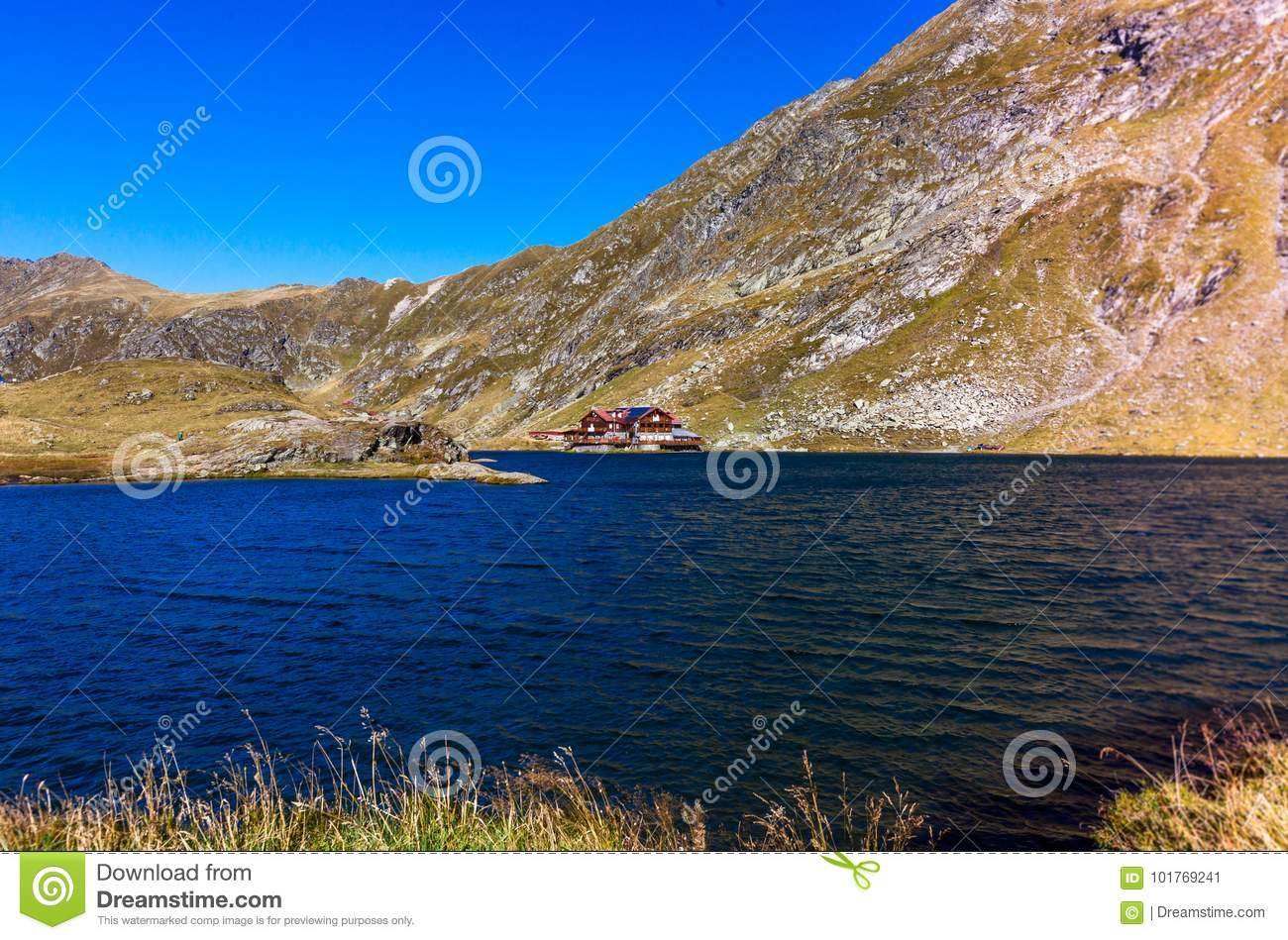 Balea Lake in the Carpathian Mountains, Red cabin By the lake