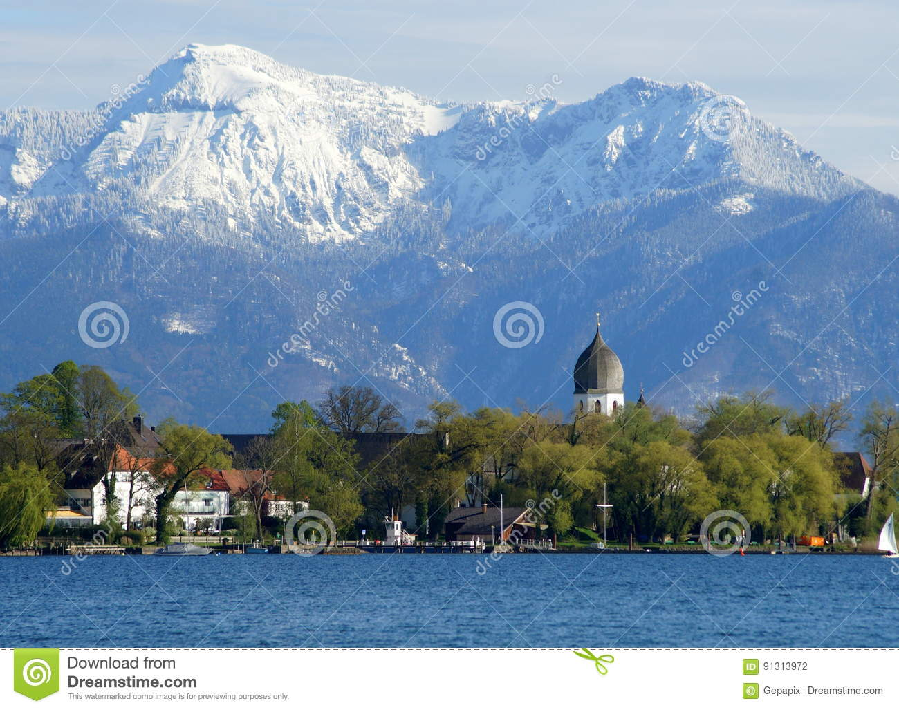 Weihnachtsmarkt Fraueninsel.Lake Chiemsee Stock Photo Image Of Lake Fraueninsel 91313972