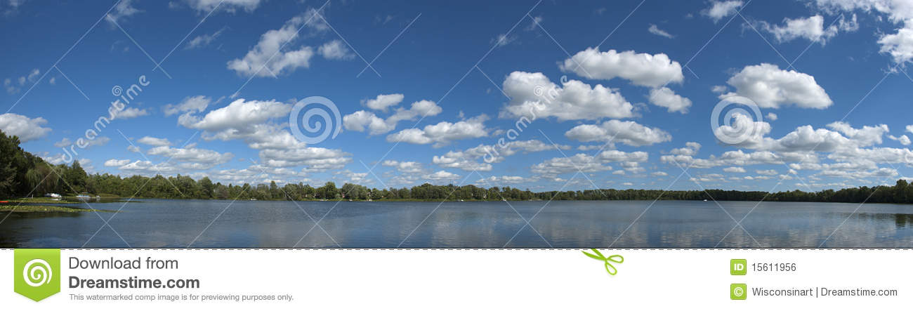 Lake Clouds Sky Water Panoramic, Panorama, Banner