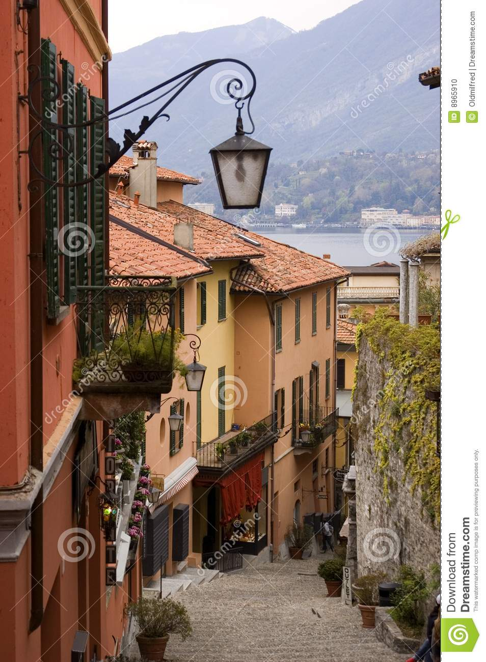 Lake Como Village Street Stock Photo Image 8965910