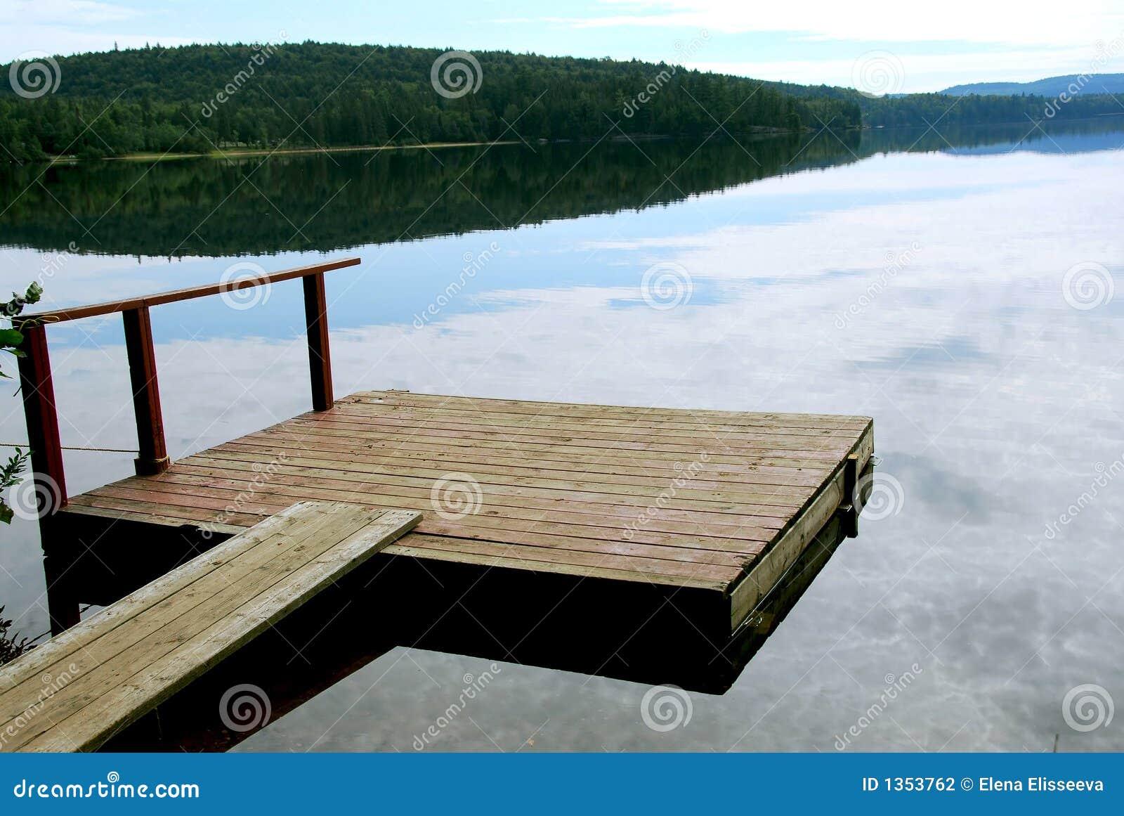 Lake dock stock photo. Image of reflection, calmness, calm ...