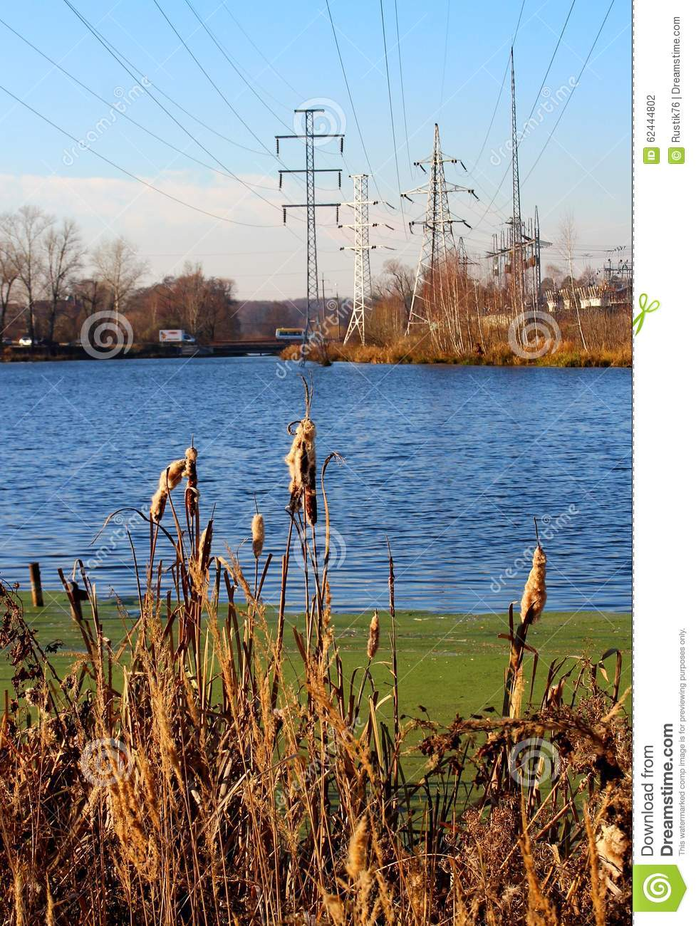 Lake and electric poles on the opposite bank stock photo image of lake and electric poles on the opposite bank m4hsunfo