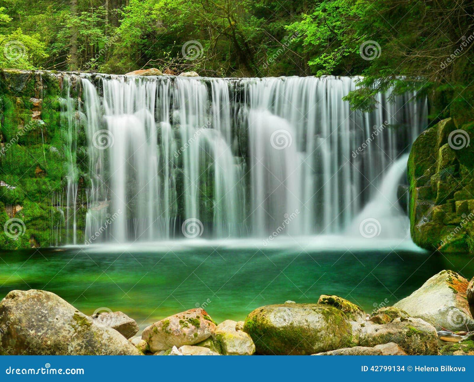 Lake Emerald Waterfalls Forest Landscape Stock Photo