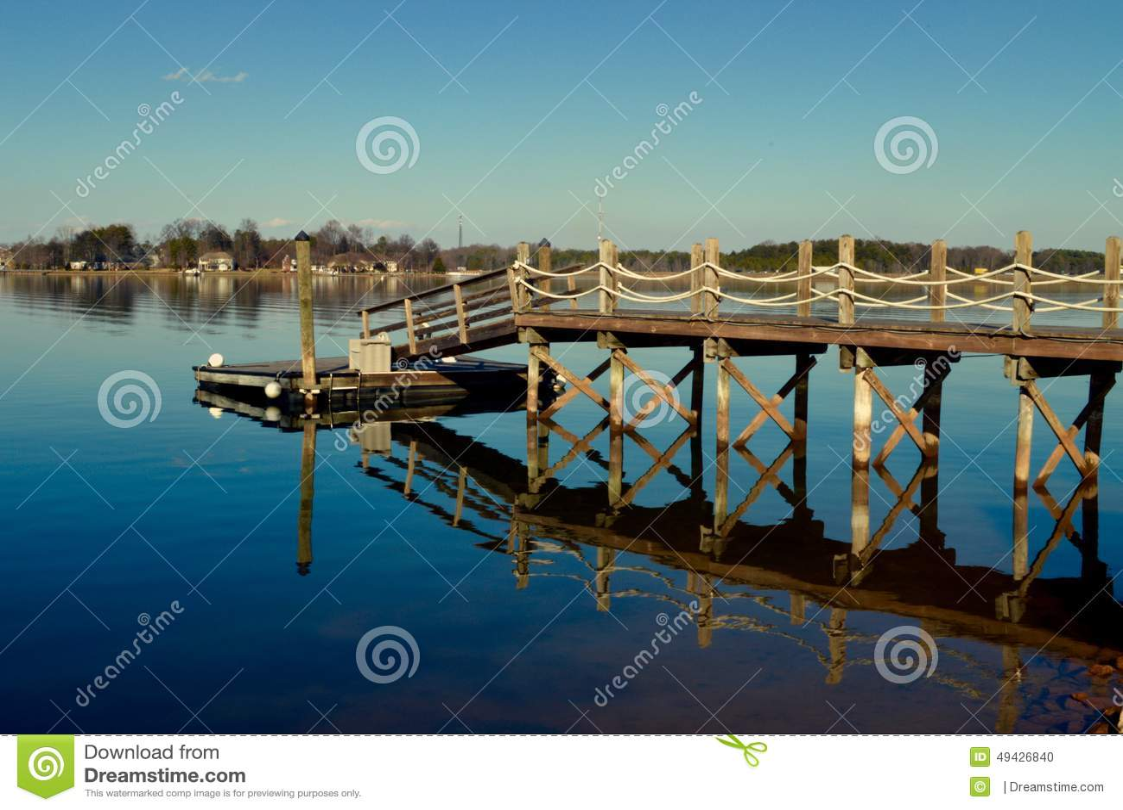 Lake House Dock Stock Photo - Image: 49426840