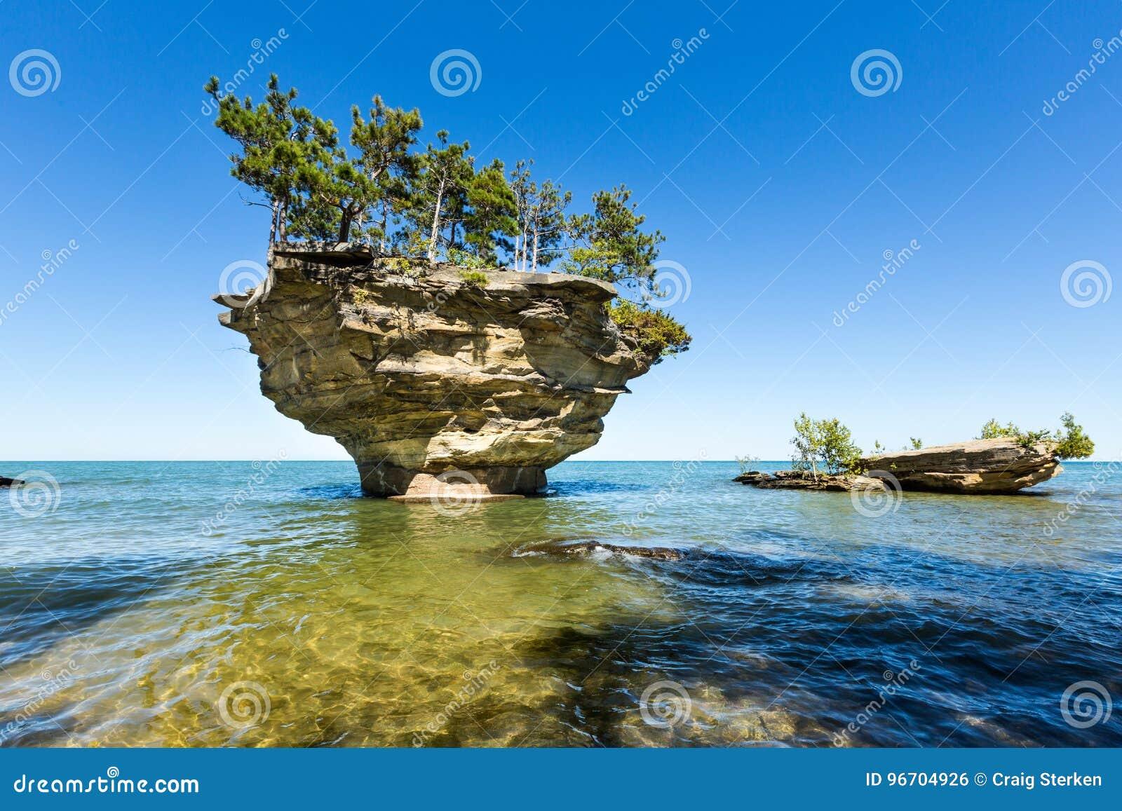 Lake Huron`s Turnip Rock, near Port Austin Michigan