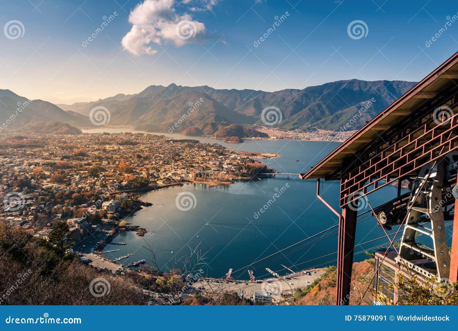 Lake kawaguchi and village viewed from Mt. Kachi Kachi Ropeway