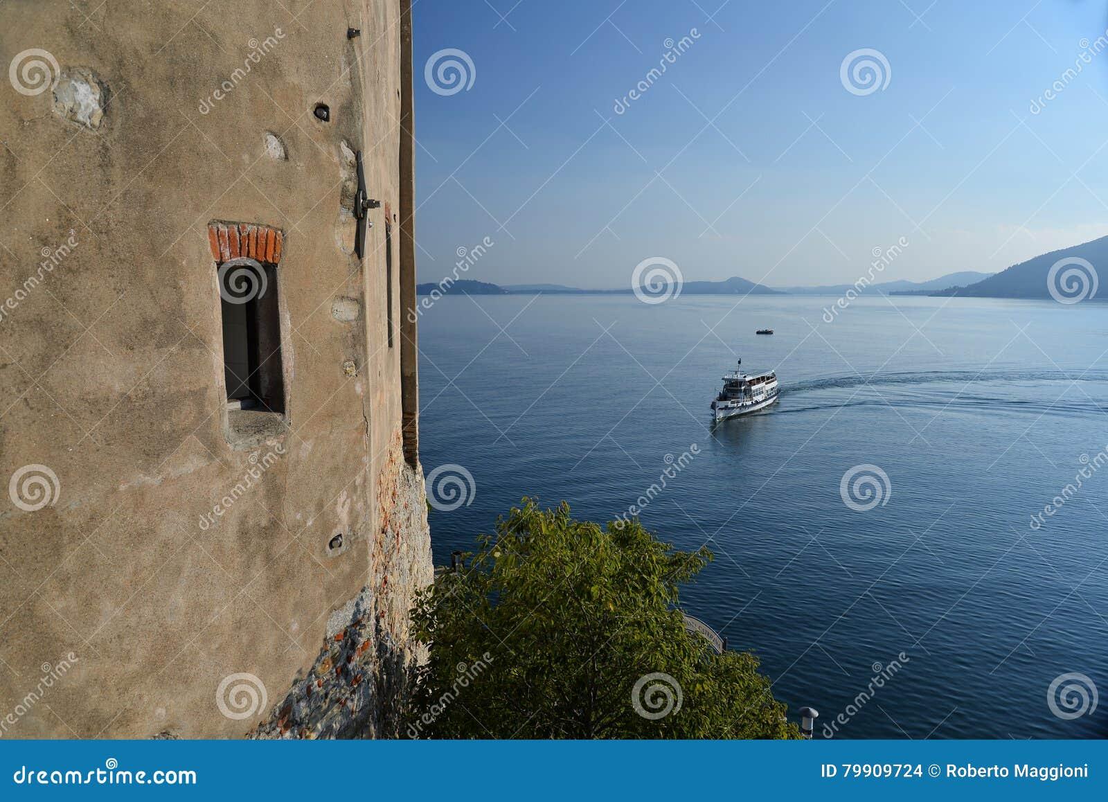 Lake - lago - Maggiore, Italy. Santa Caterina del Sasso monastery