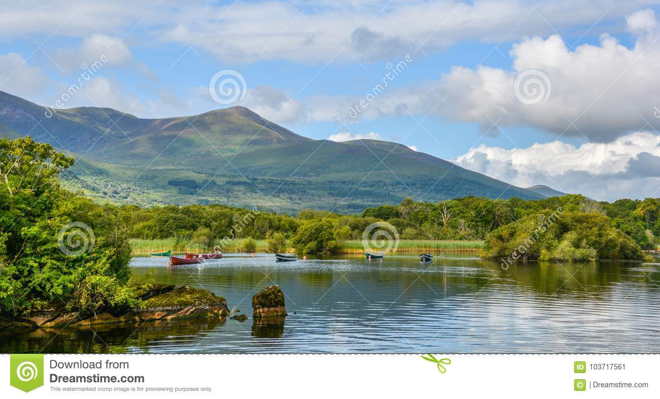 Lake Leane in a sunny morning, in Killarney National Park, County Kerry, Ireland.